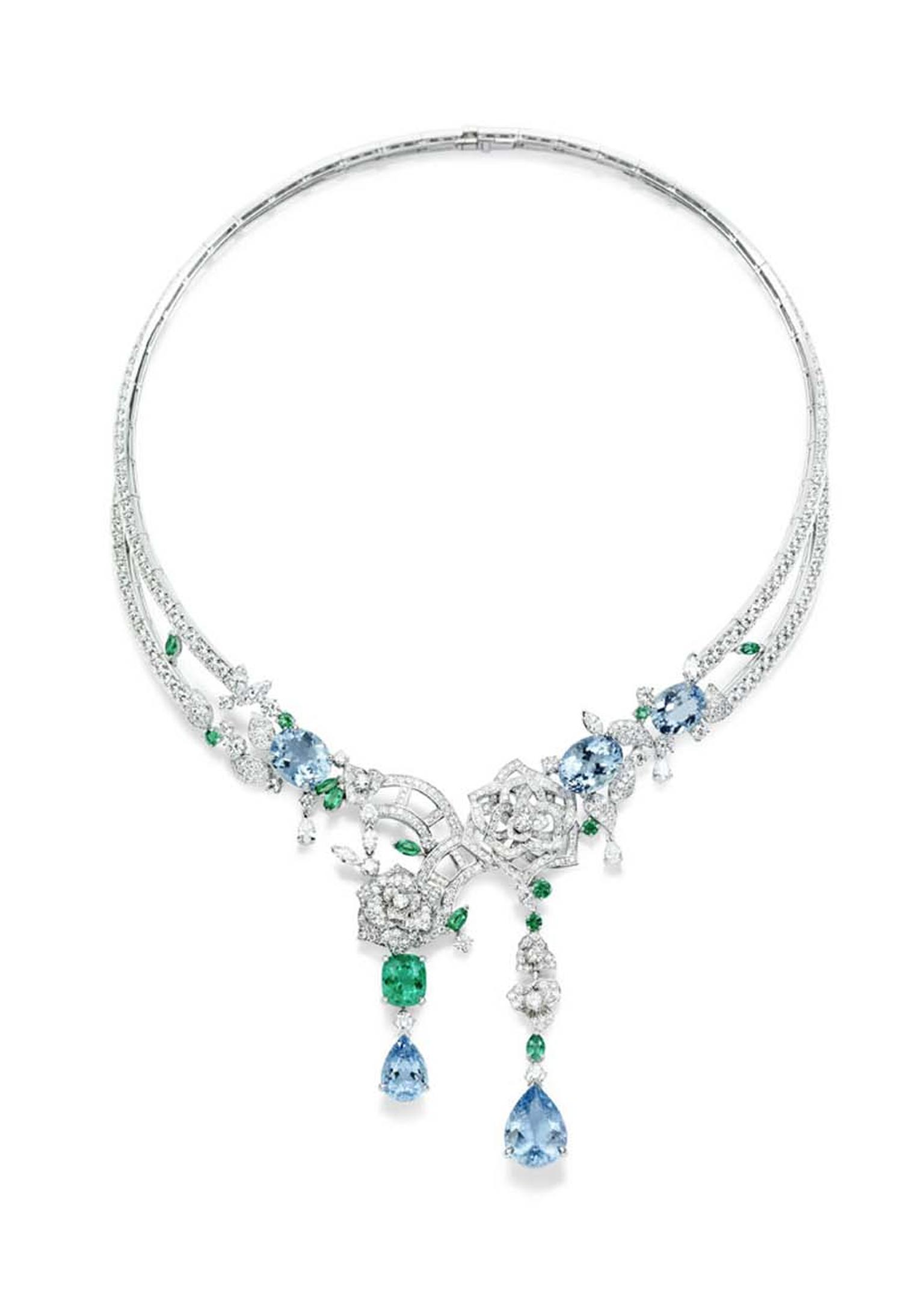 Piaget Rose Passion necklace in white gold, set with tourmalines, topaz and diamonds