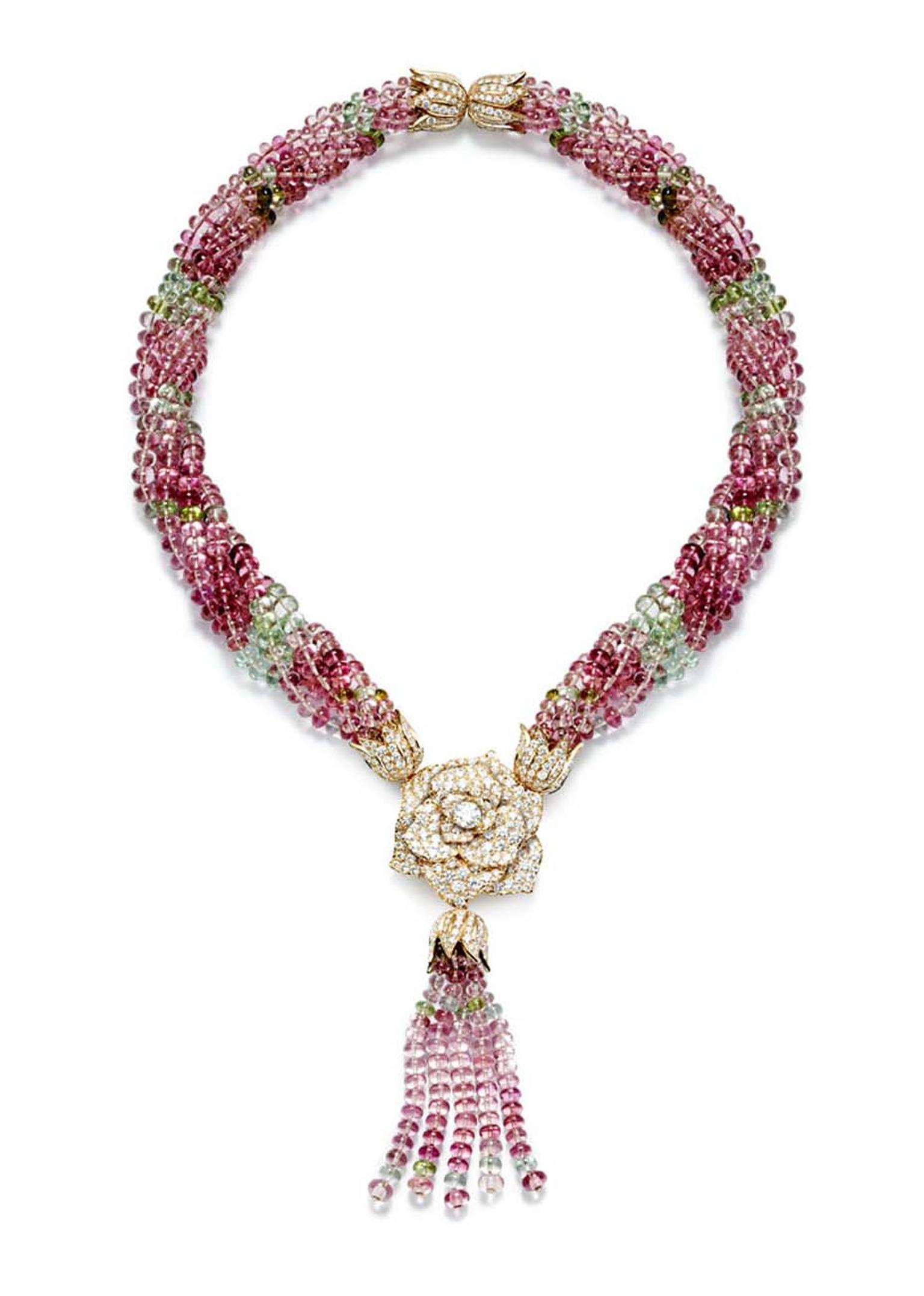 Piaget Rose Passion Tassle Necklace with pink sapphire tassels hanging from an iconic Piaget diamond and gold rose