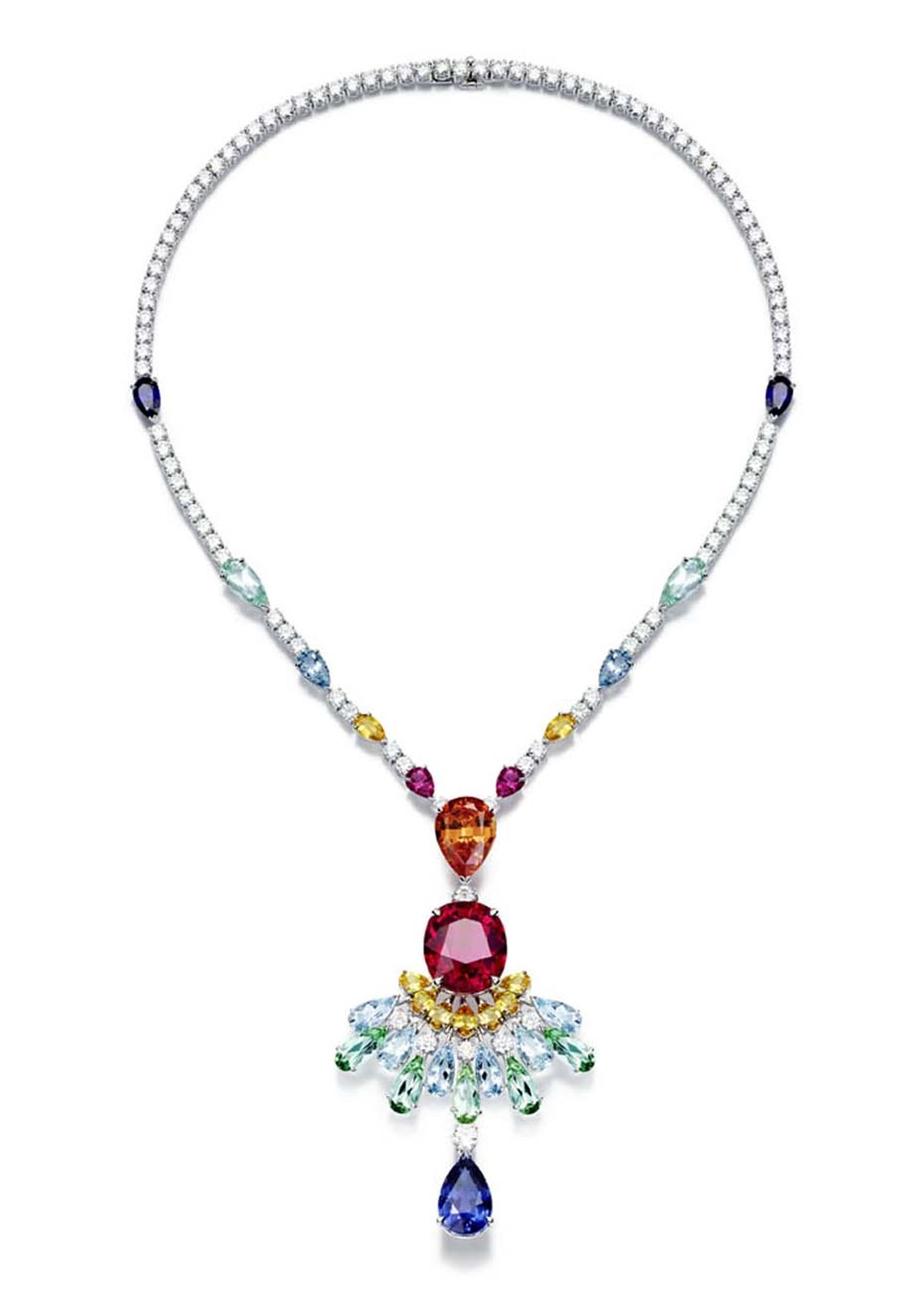 Piaget Rose Passion necklace set with an array of vivid gemstones, including aquamarines, rubellites and topaz