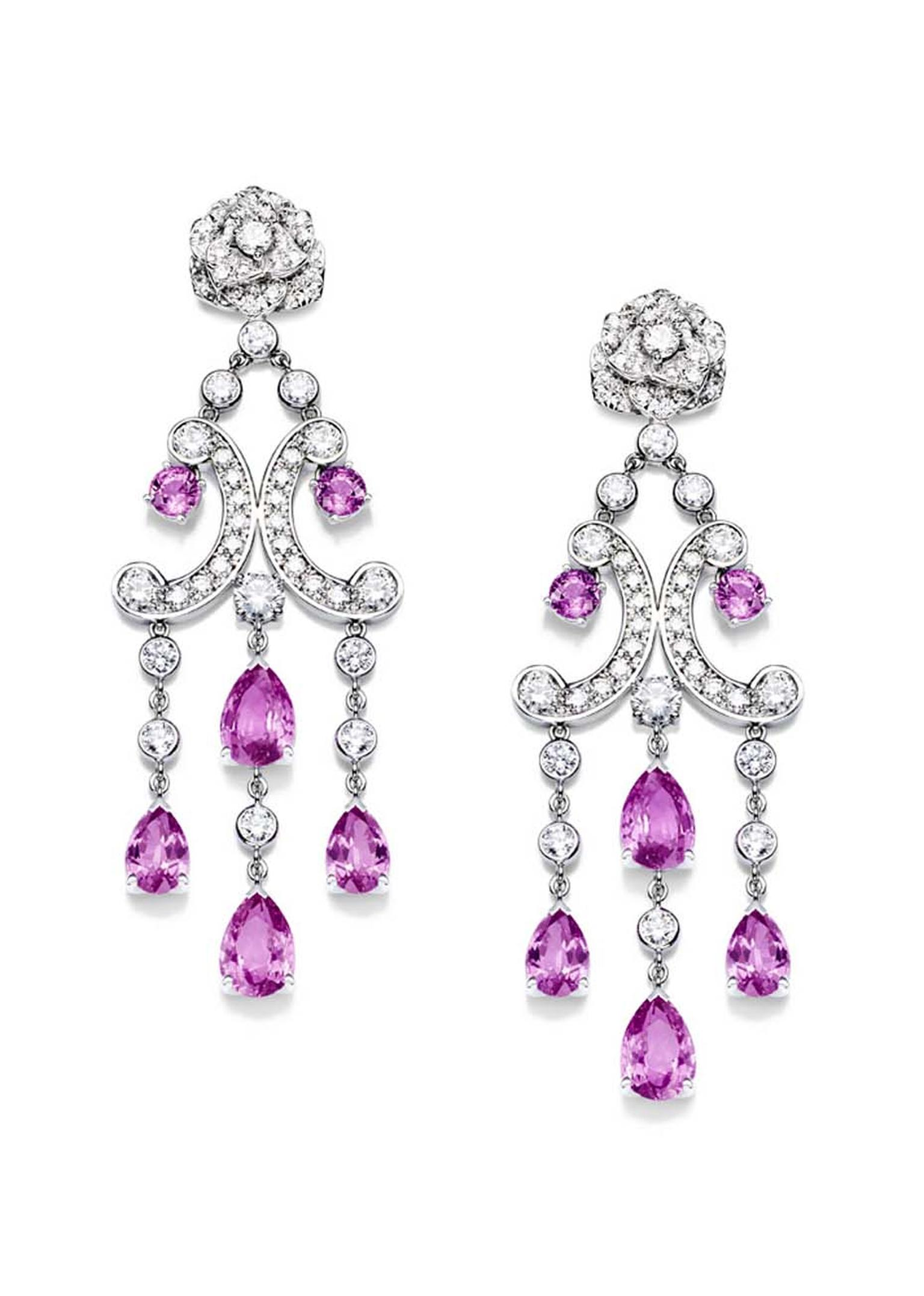 Piaget Rose Passion earrings in white gold, with diamonds and pink sapphires