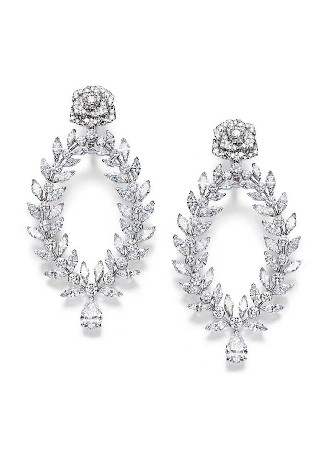 Piaget Rose Passion earrings in white gold, designed to look like laurel branches, set with marquise-cut diamonds