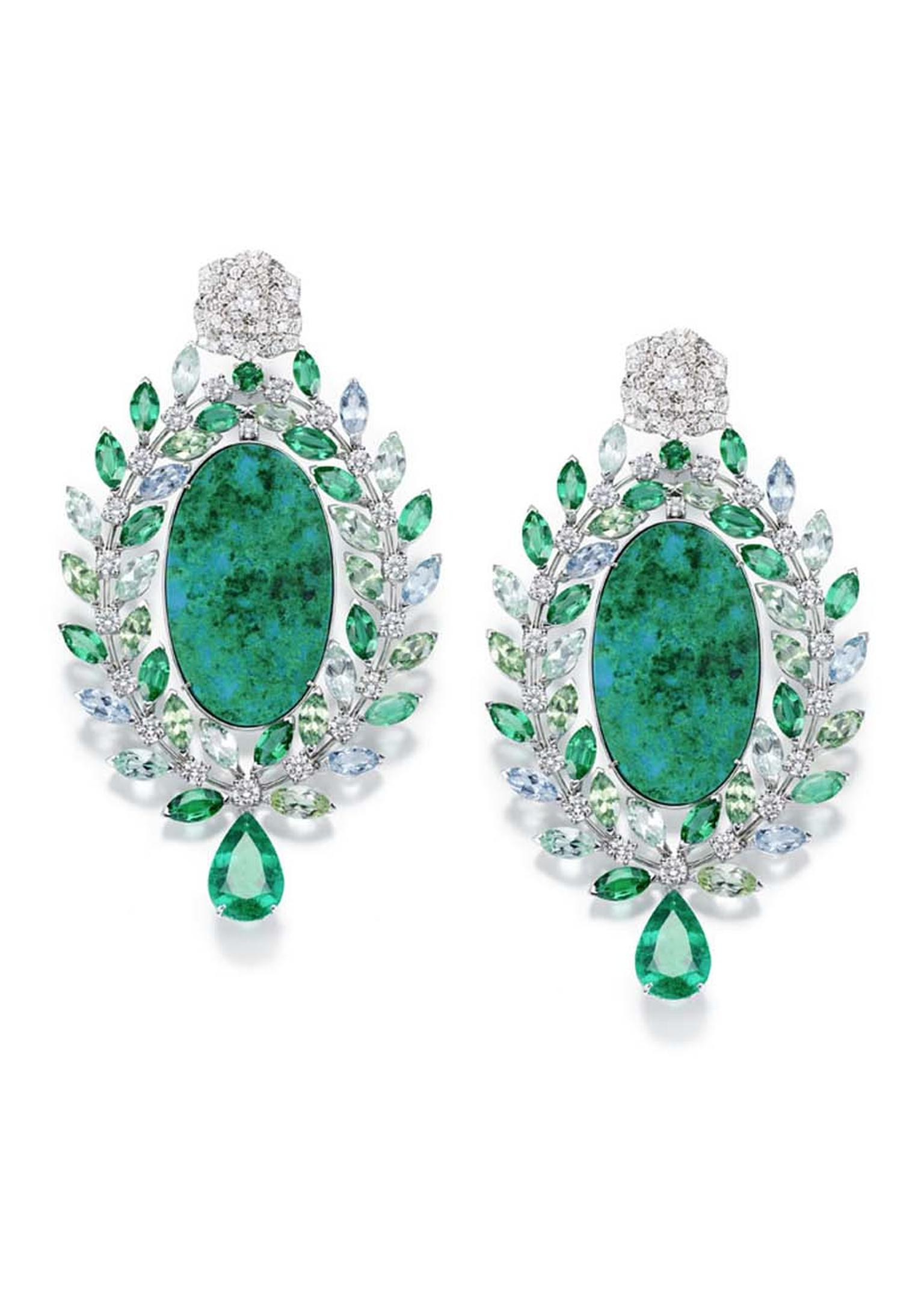Piaget Rose Passion earrings in white gold, with diamonds and tourmalines