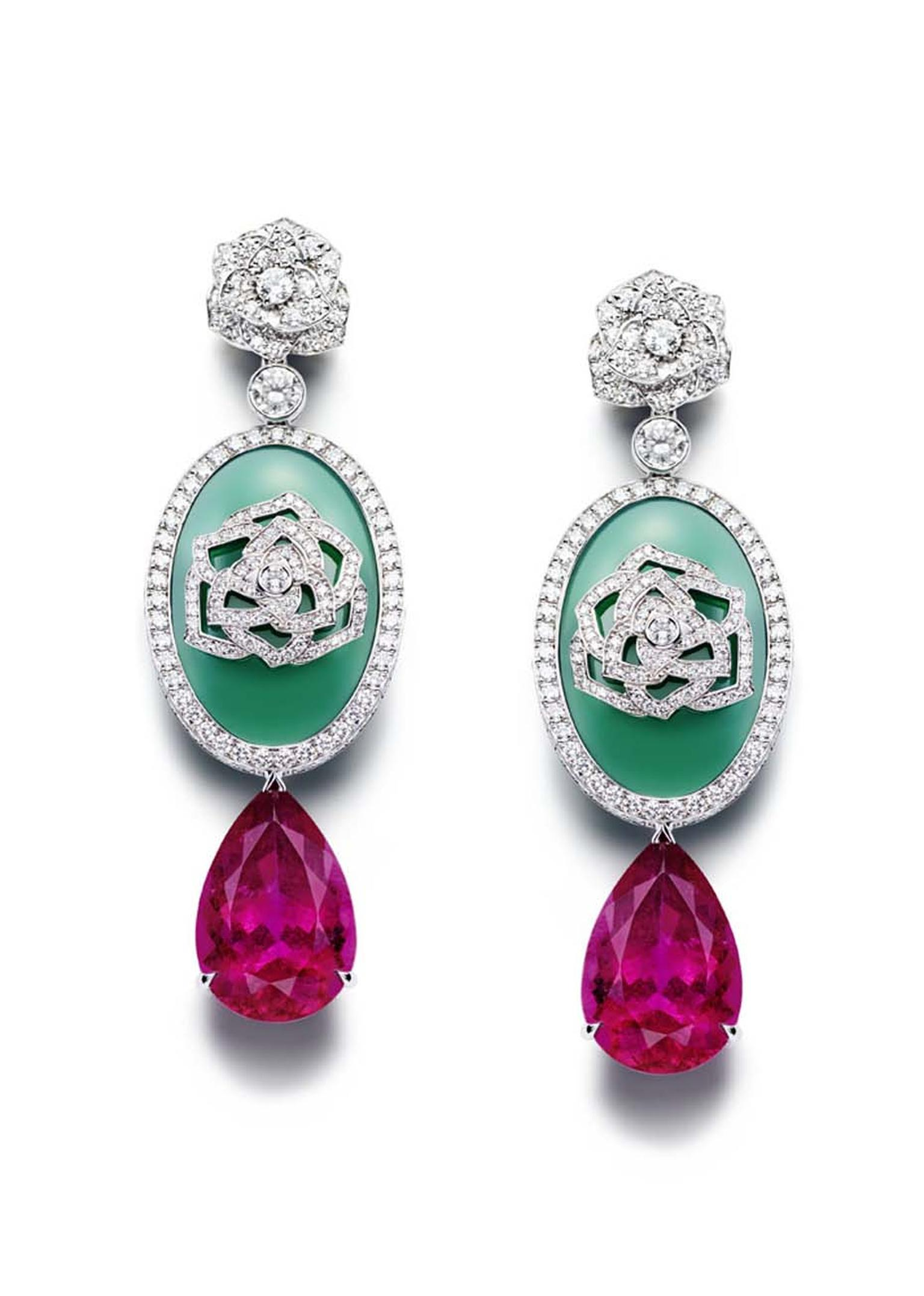 Piaget Rose Passion earrings in white gold, with pear shaped rubellites and chrysoprase surrounded by diamonds