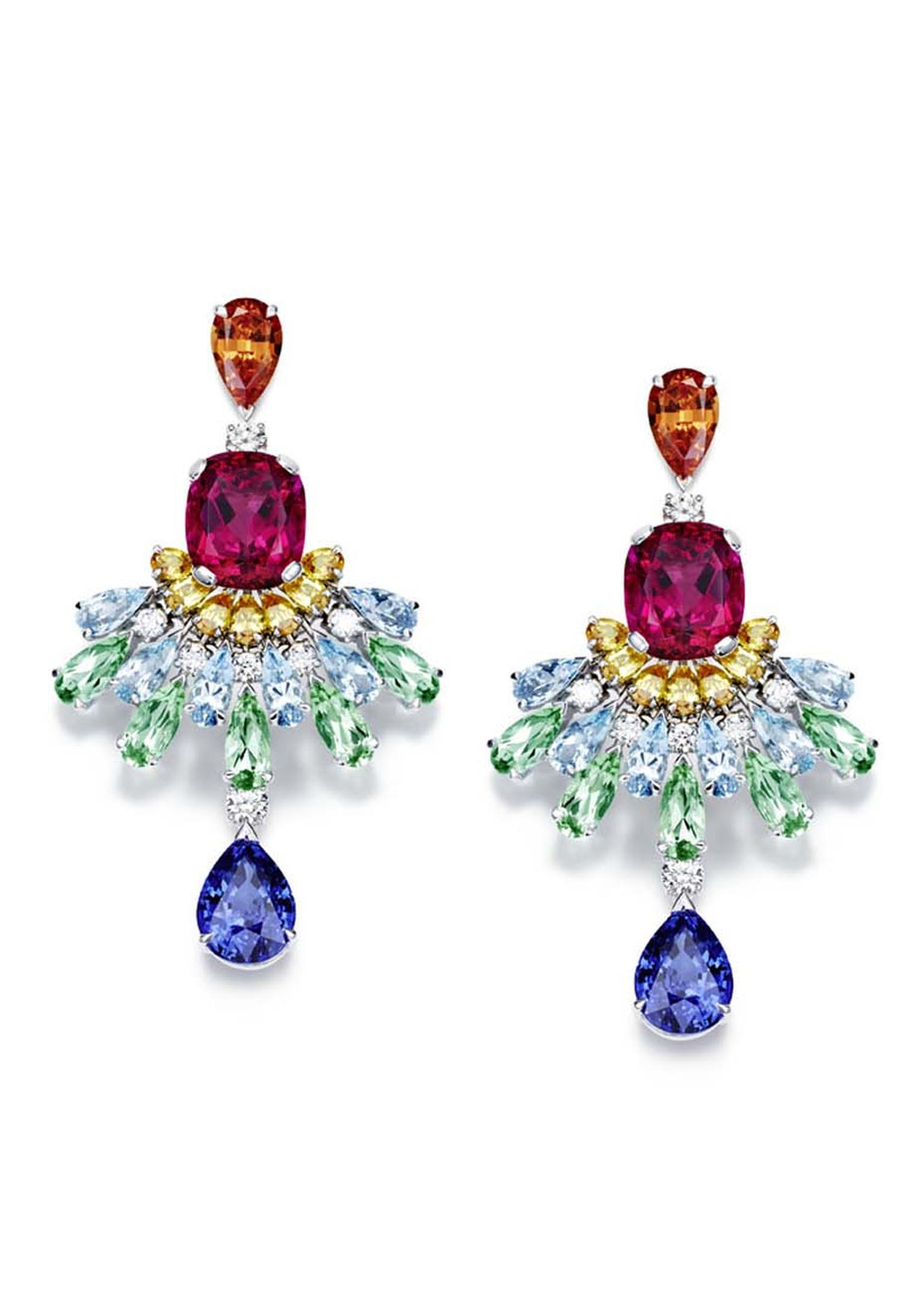 Piaget's Rose Passion earrings are set with a variety of colourful gemstones, including rubellites, topaz and aquamarines