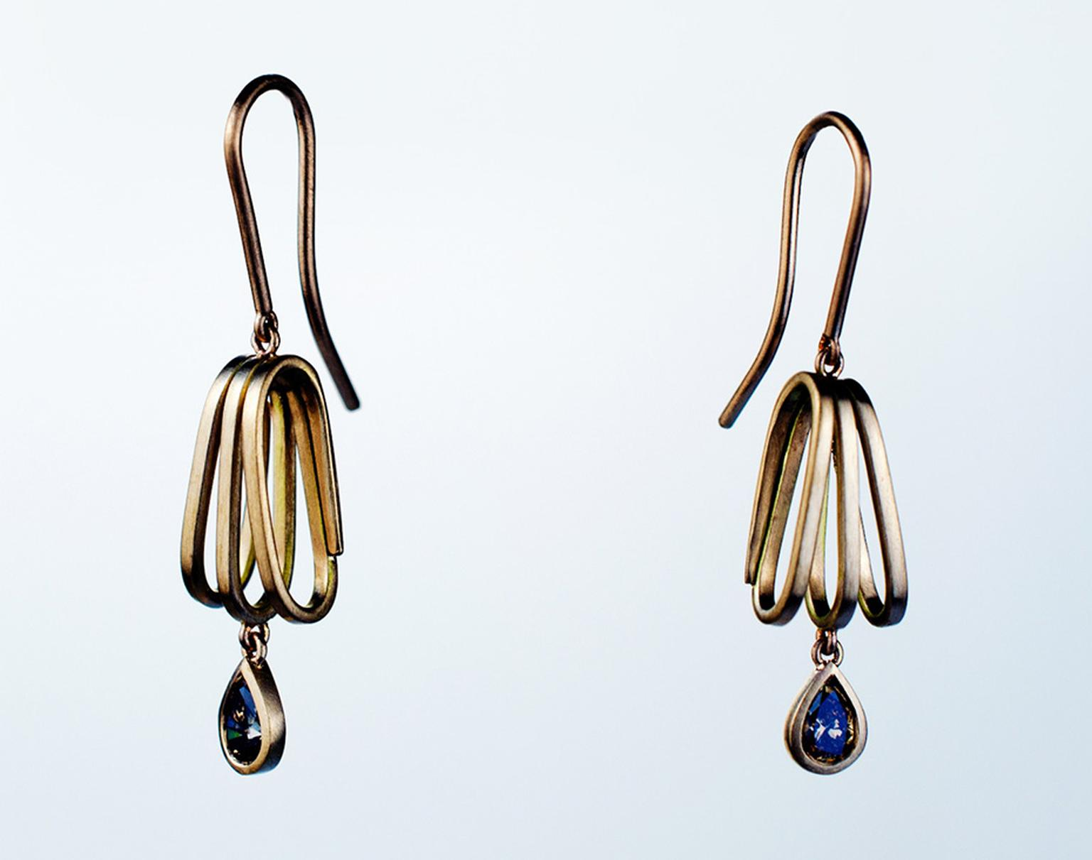 Cox & Power Seascape earrings in Fairtrade red gold, set with pear-shaped cognac diamonds.