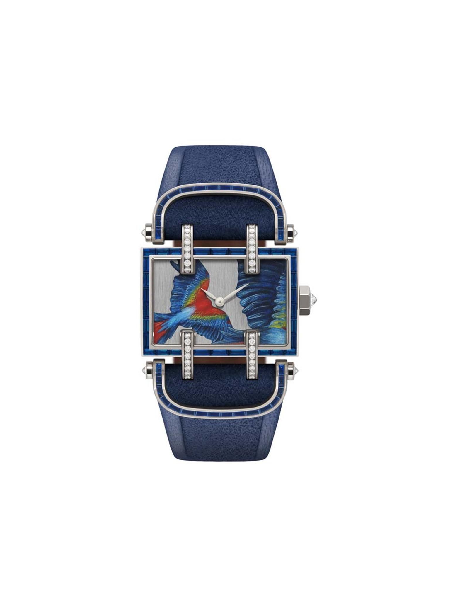 One-of a kind DeLaneau Atame Flying Parrot Grand Feu enamel watch