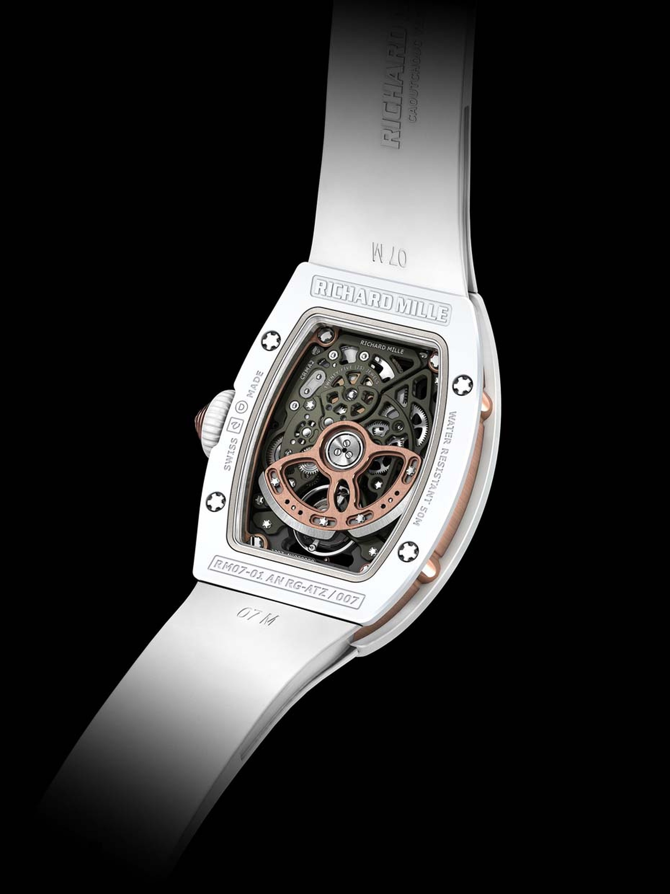 The reverse of the Richard Mille RM 07-01 watch in white ATZ ceramic