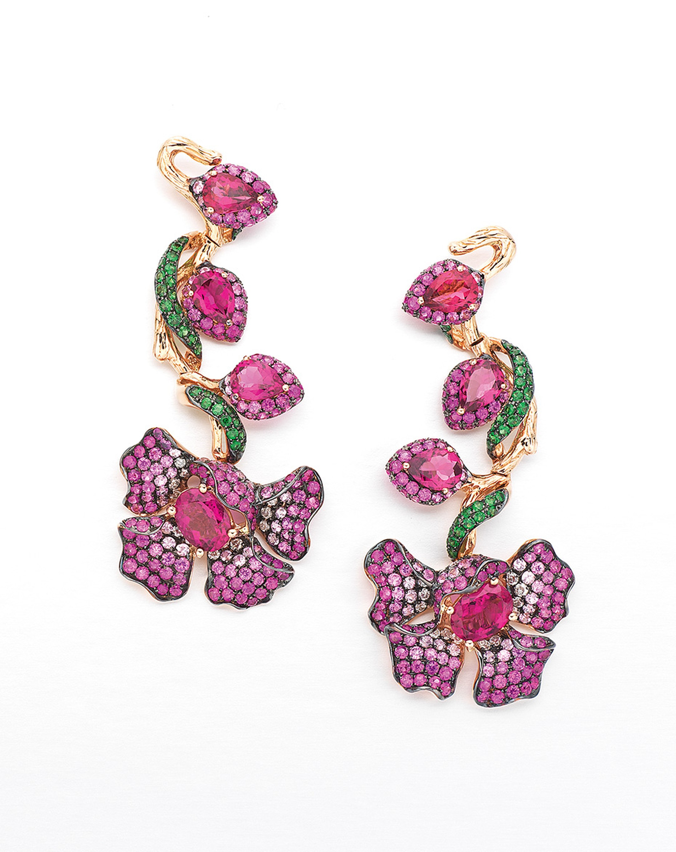 Wendy Yue's diamond arrings with rubellites, white sapphires, pink sapphires and tsavourites.