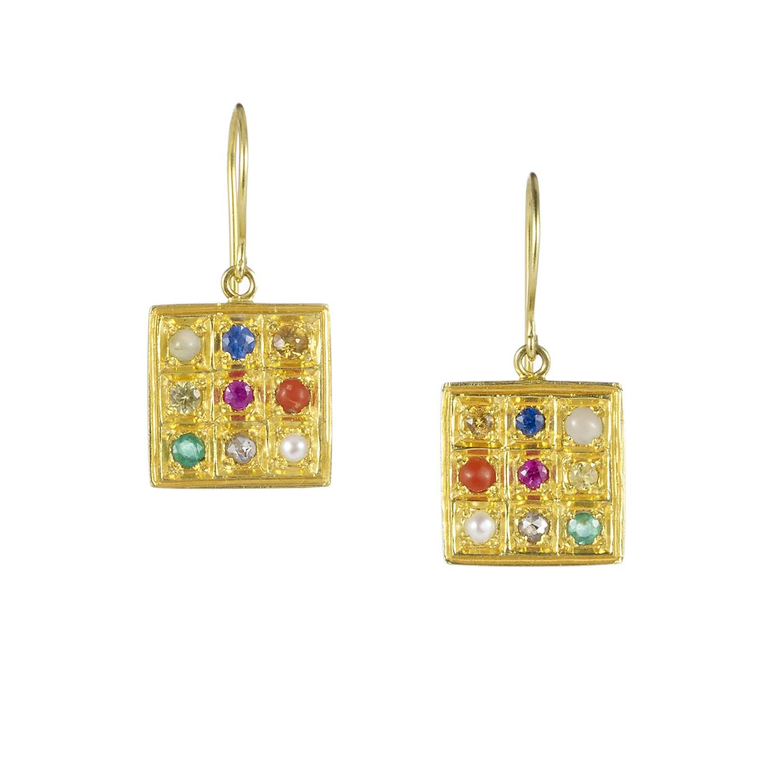 Pippa Small Navaratna earrings in yellow gold with multi-coloured gemstones