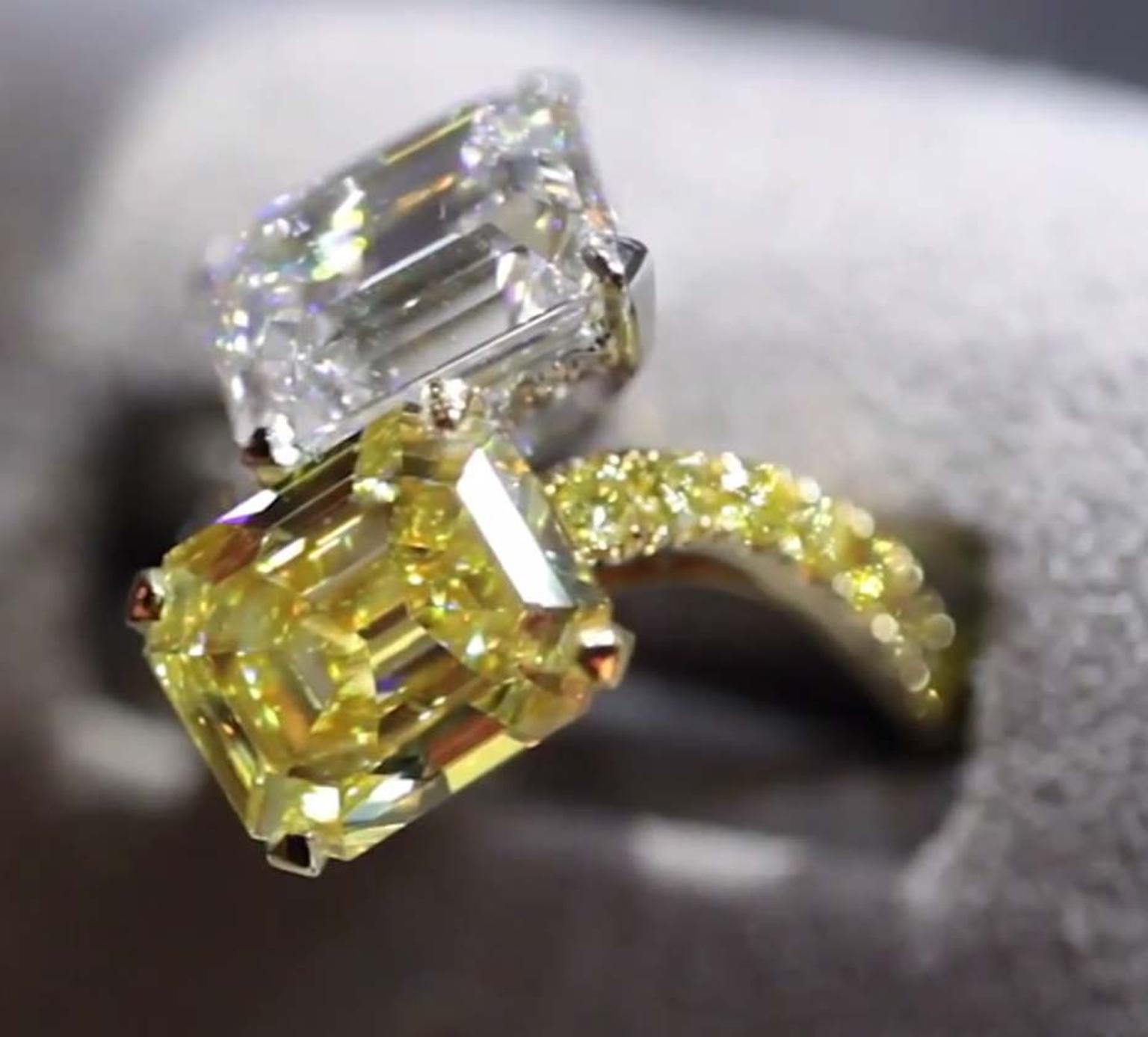 Graff yellow diamond and  white diamond ring