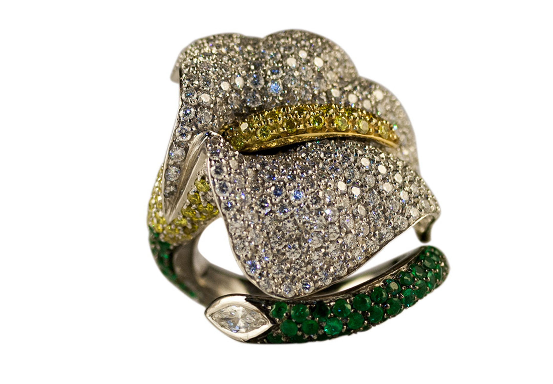 Emily H London's Calla Lily ring in white gold, pavé set with emeralds and white and yellow diamonds
