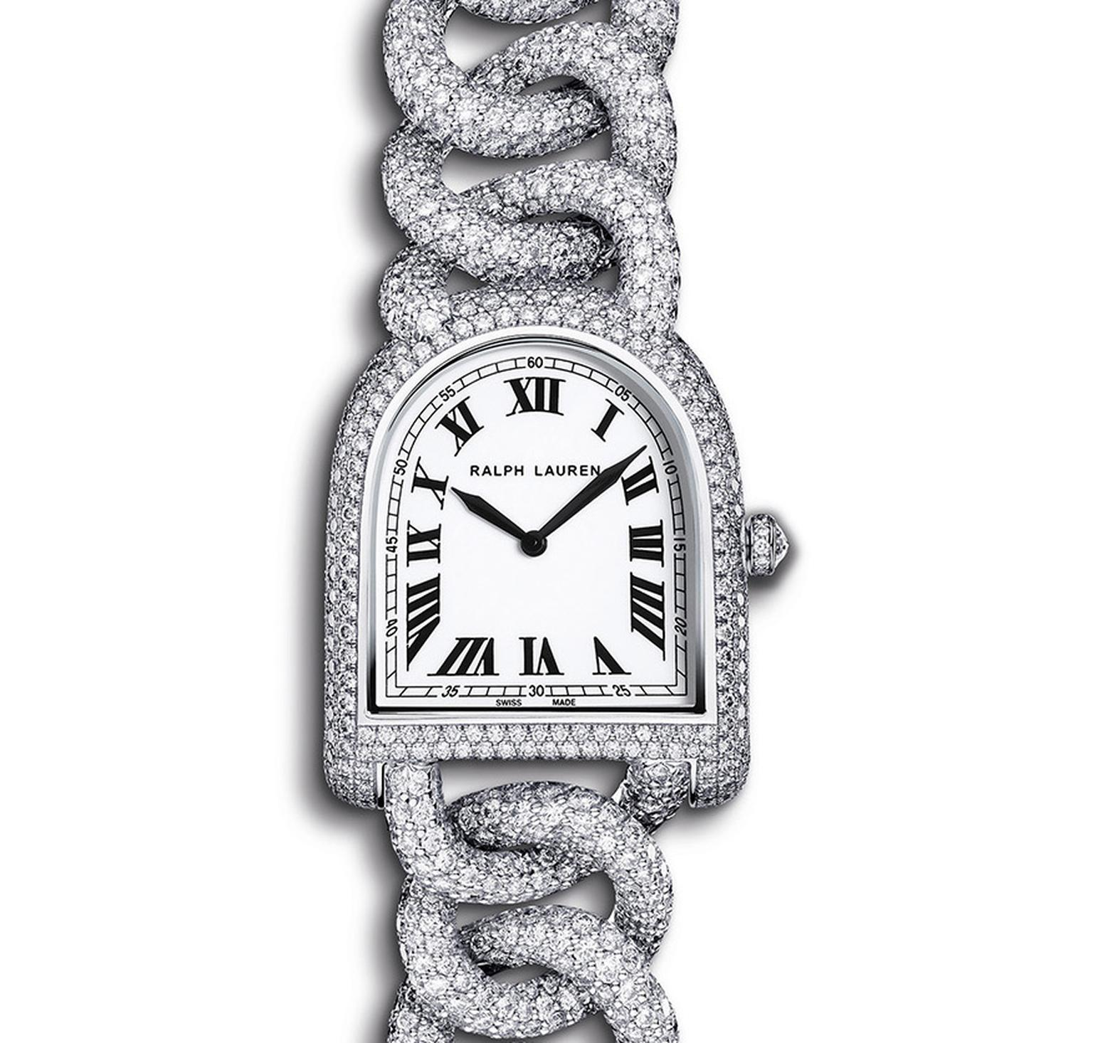 Ralph Lauren Petite Link watch in white gold, fully pavéd with diamonds