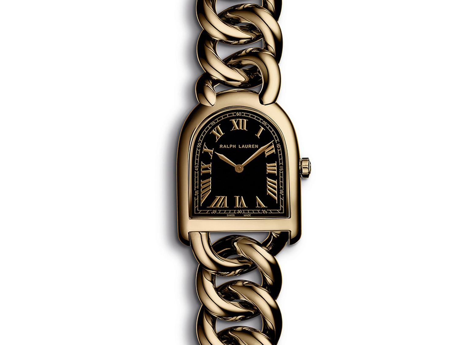 Ralph Lauren Petite-Link Stirrup watch in rose gold, with a black lacquered dial