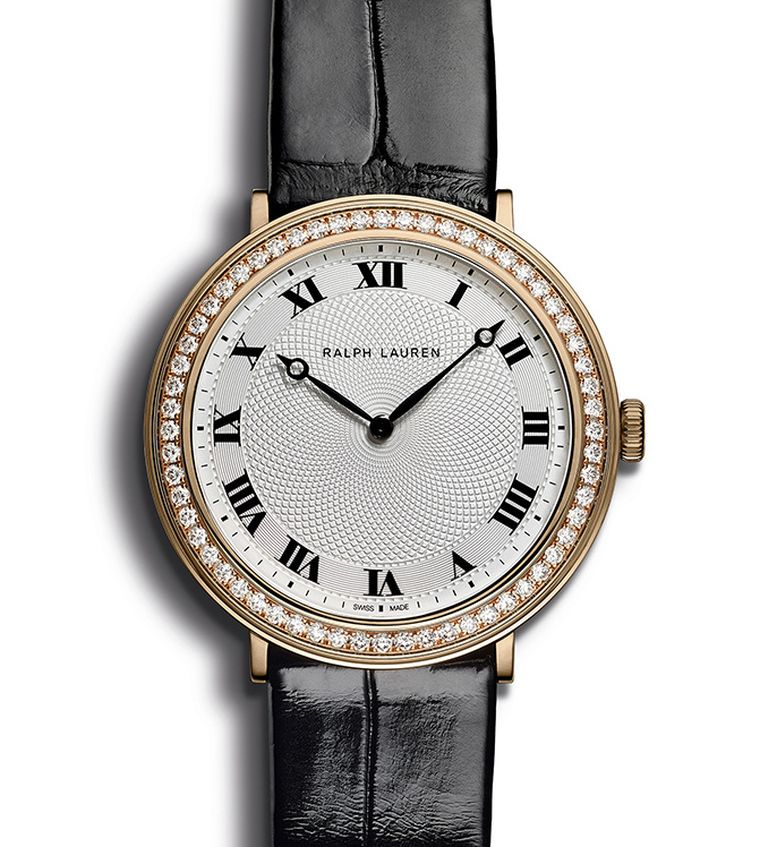 Ralph Lauren Slim Classique in rose gold, set with a row of diamonds around the bezel
