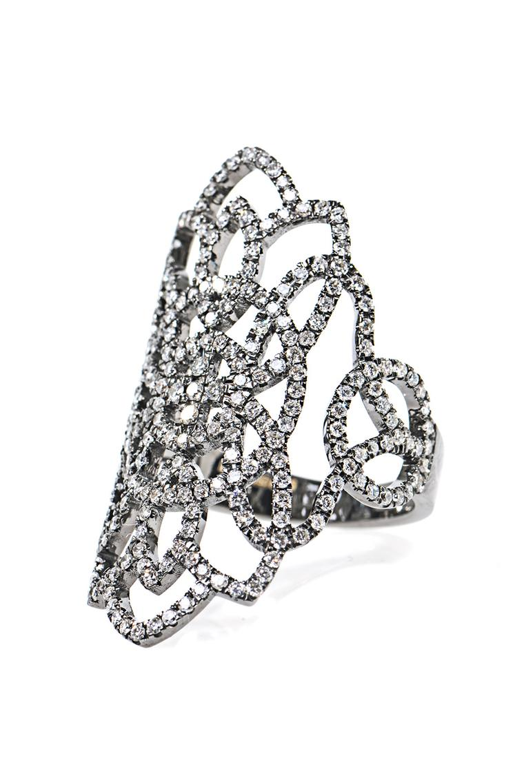 Diane Kordas diamond and gold Arabesque ring