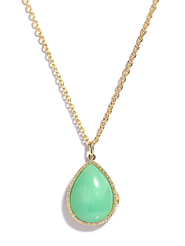 Irene Neuwirth diamond and mint chrysoprase locket necklace