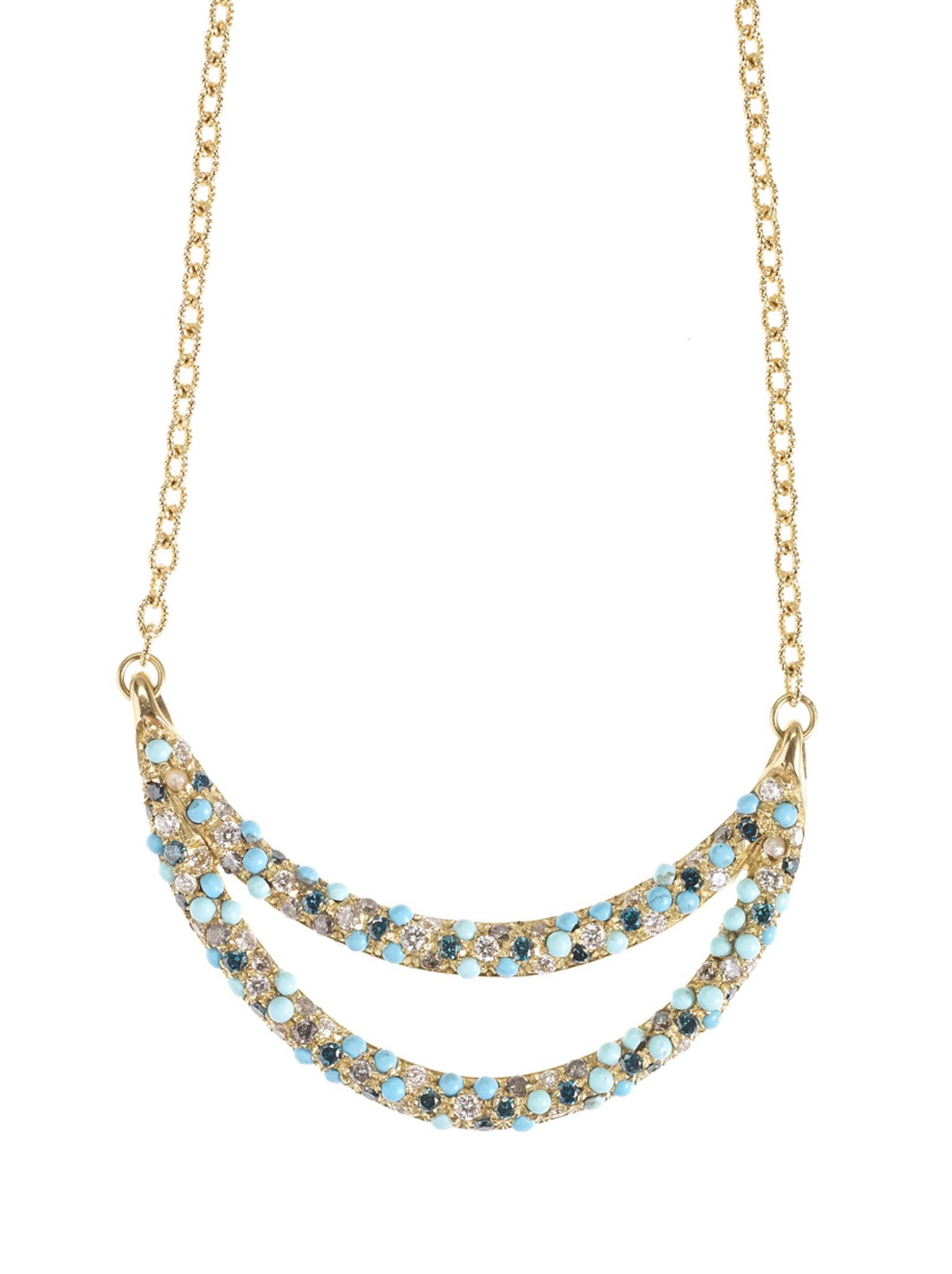 Carolina Bucci gold Smile necklace with multi-coloured gemstones