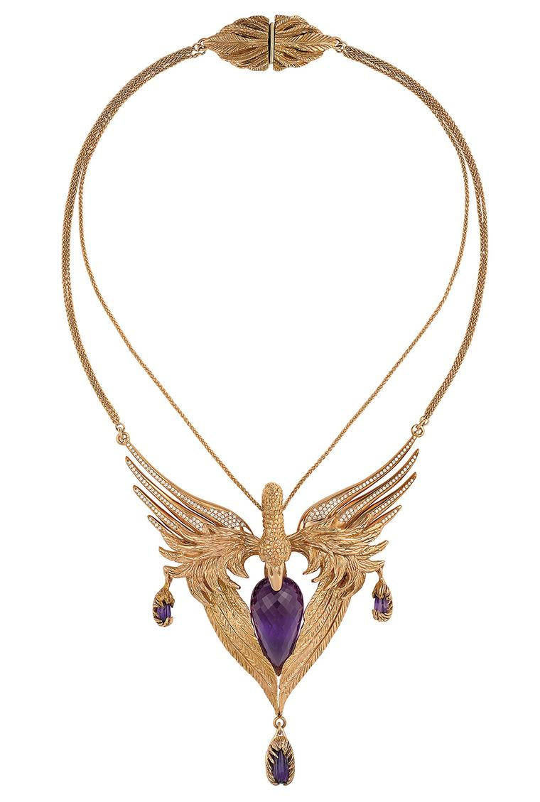 Duffy for Gemfields Swan collar necklace in rose gold, set with Gemfields amethysts