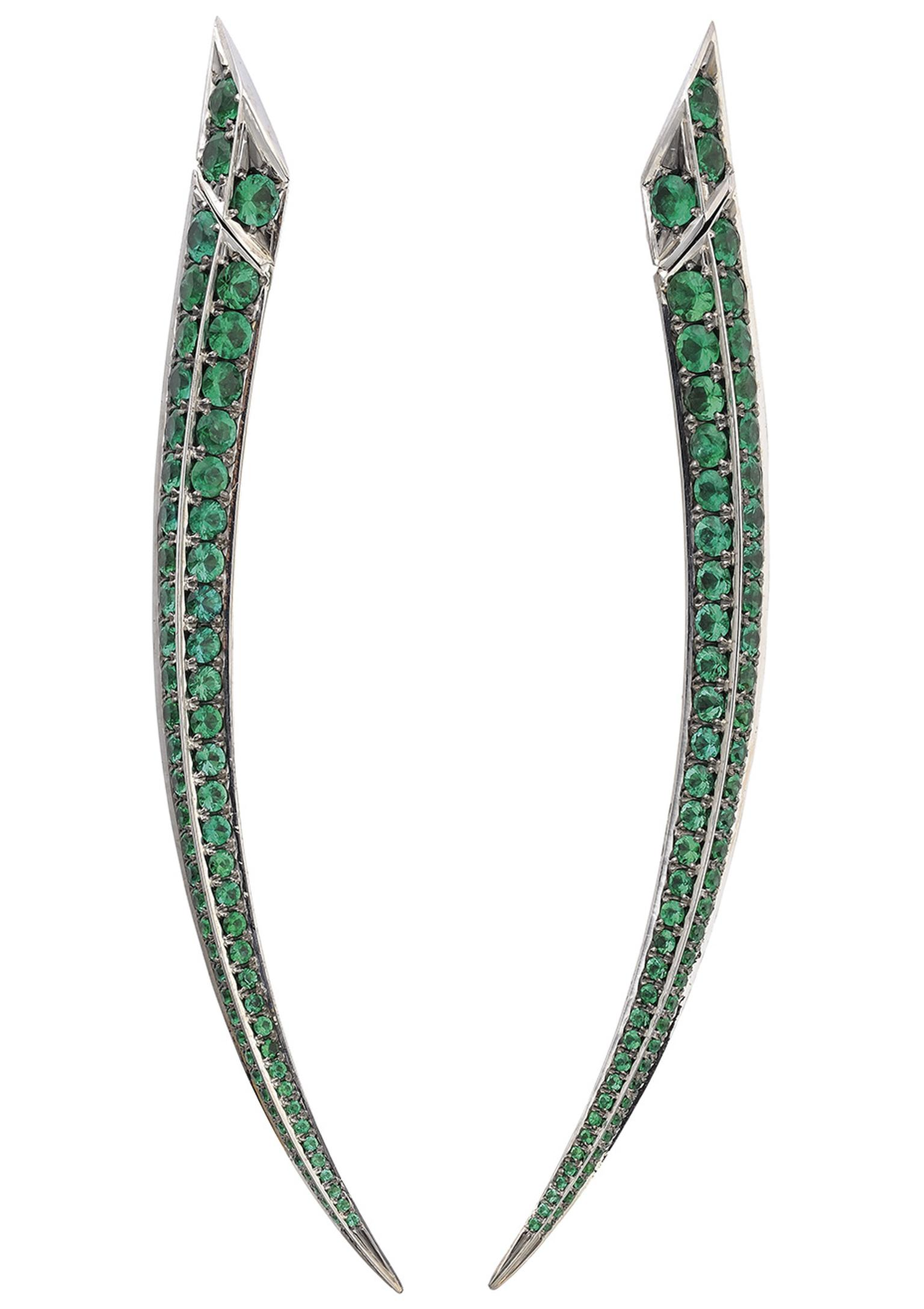 Shaun Leane for Gemfields Sabre earrings set with pavé Gemfields emeralds