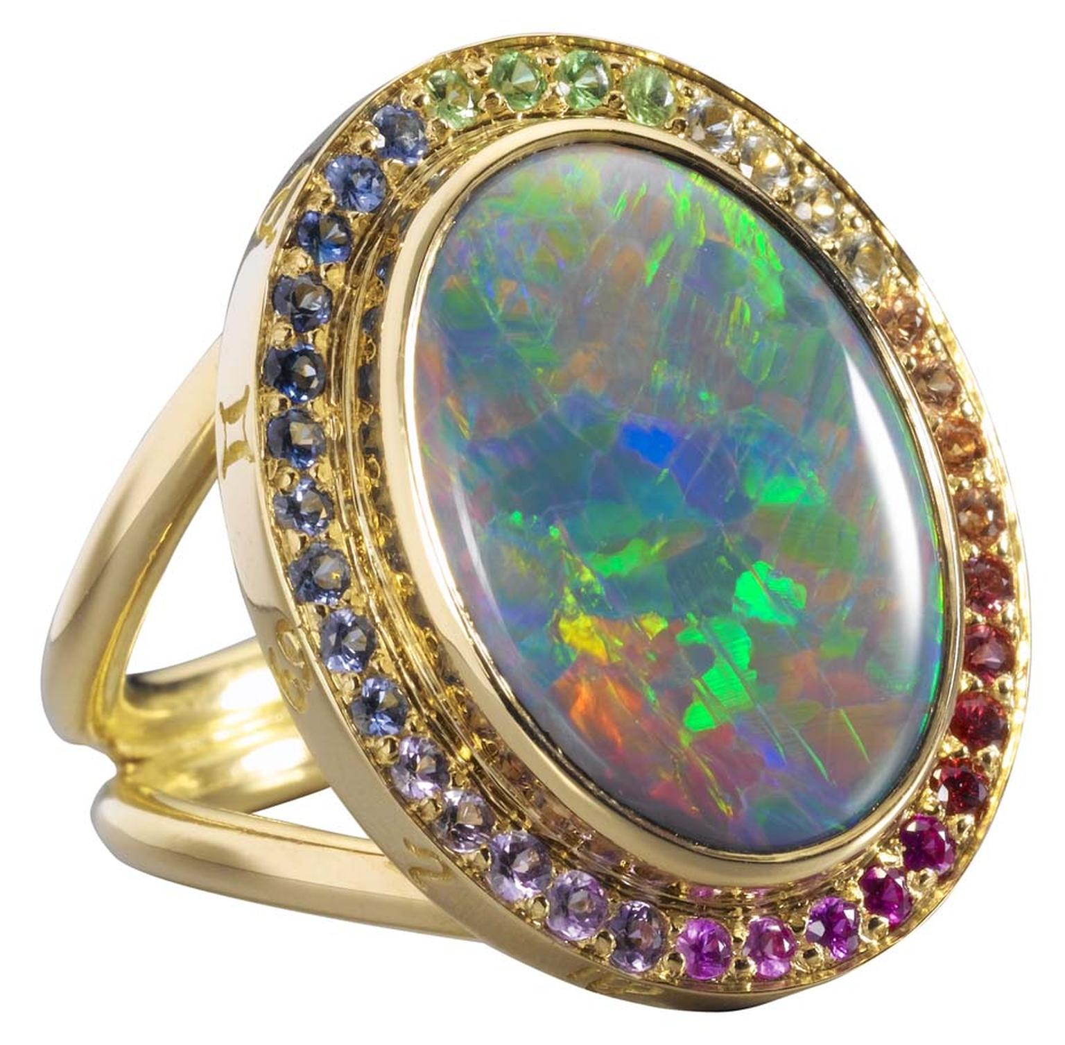 Temple St. Clair gold Astrid ring with black opal and mix colour sapphire