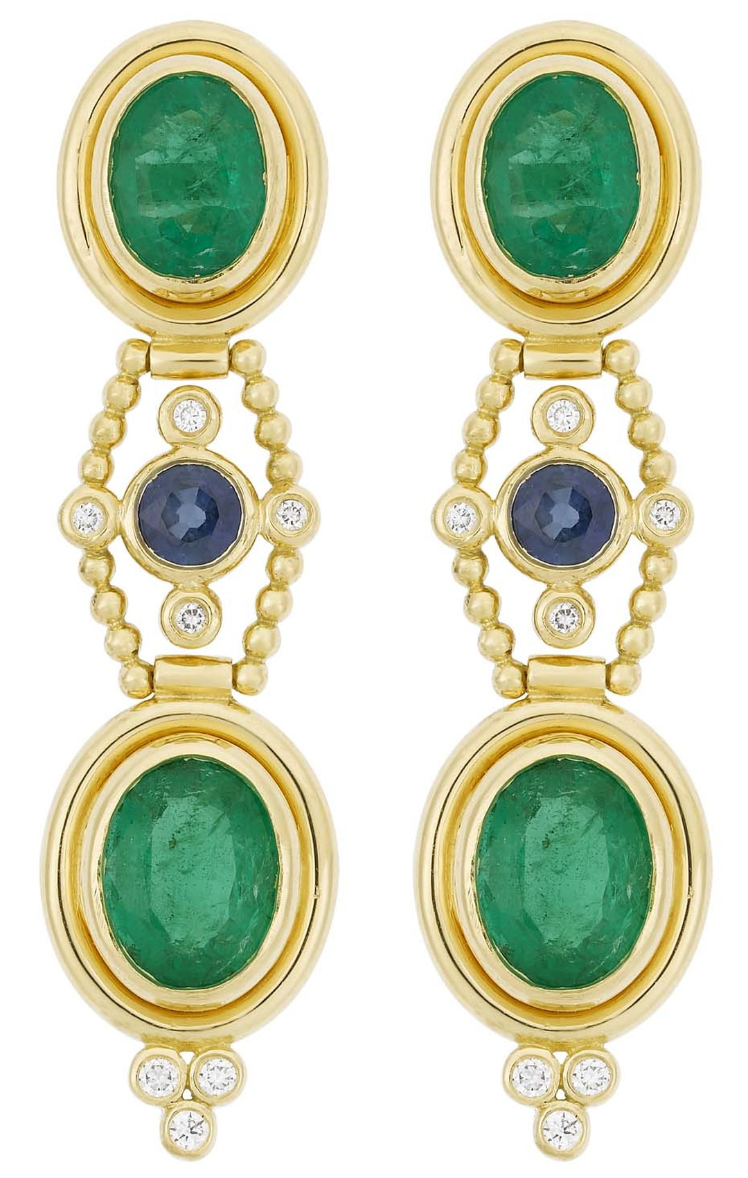 Temple St. Clair gold Theodora earrings with emerald, sapphire, and diamond earrings