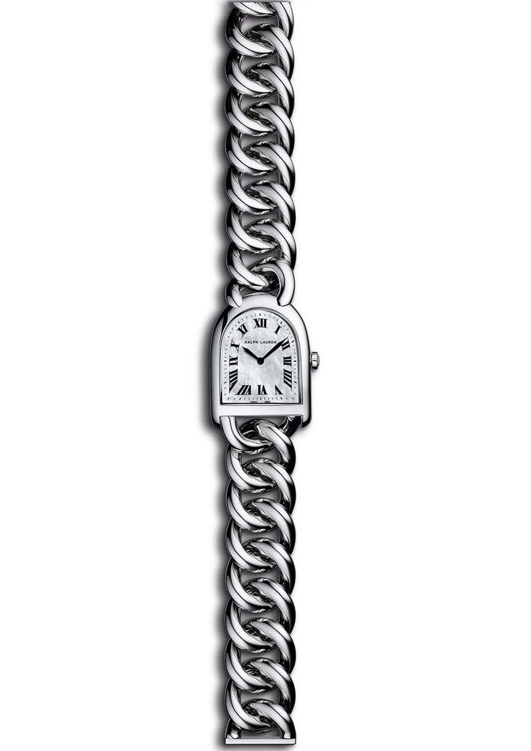 Ralph Lauren Stirrup Petite-Link bracelet watch in steel with a mother-of-pearl dial.