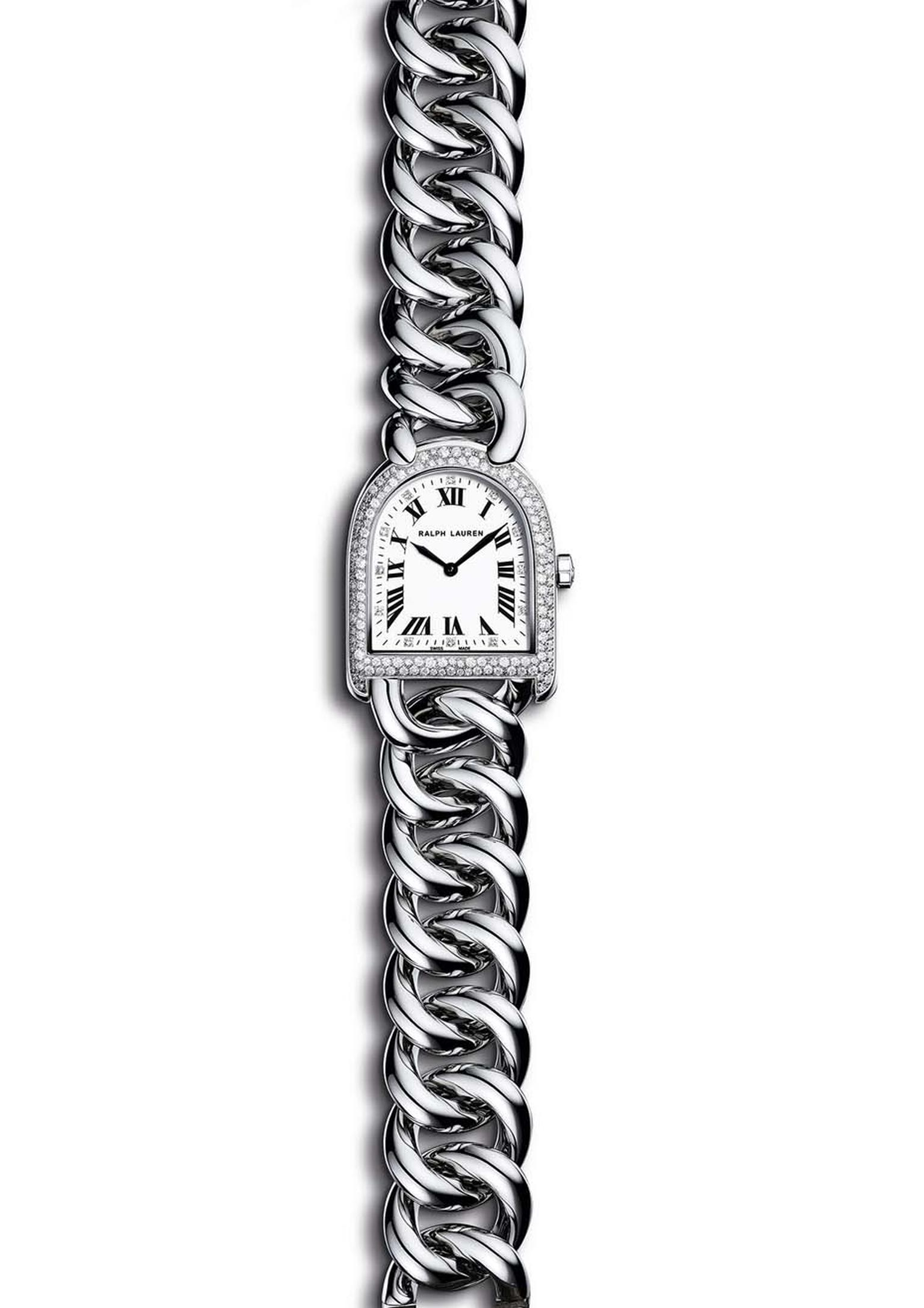 Ralph Lauren Stirrup Petite-Link bracelet watch in steel with a mother-of-pearl dial and snowfall diamond setting.
