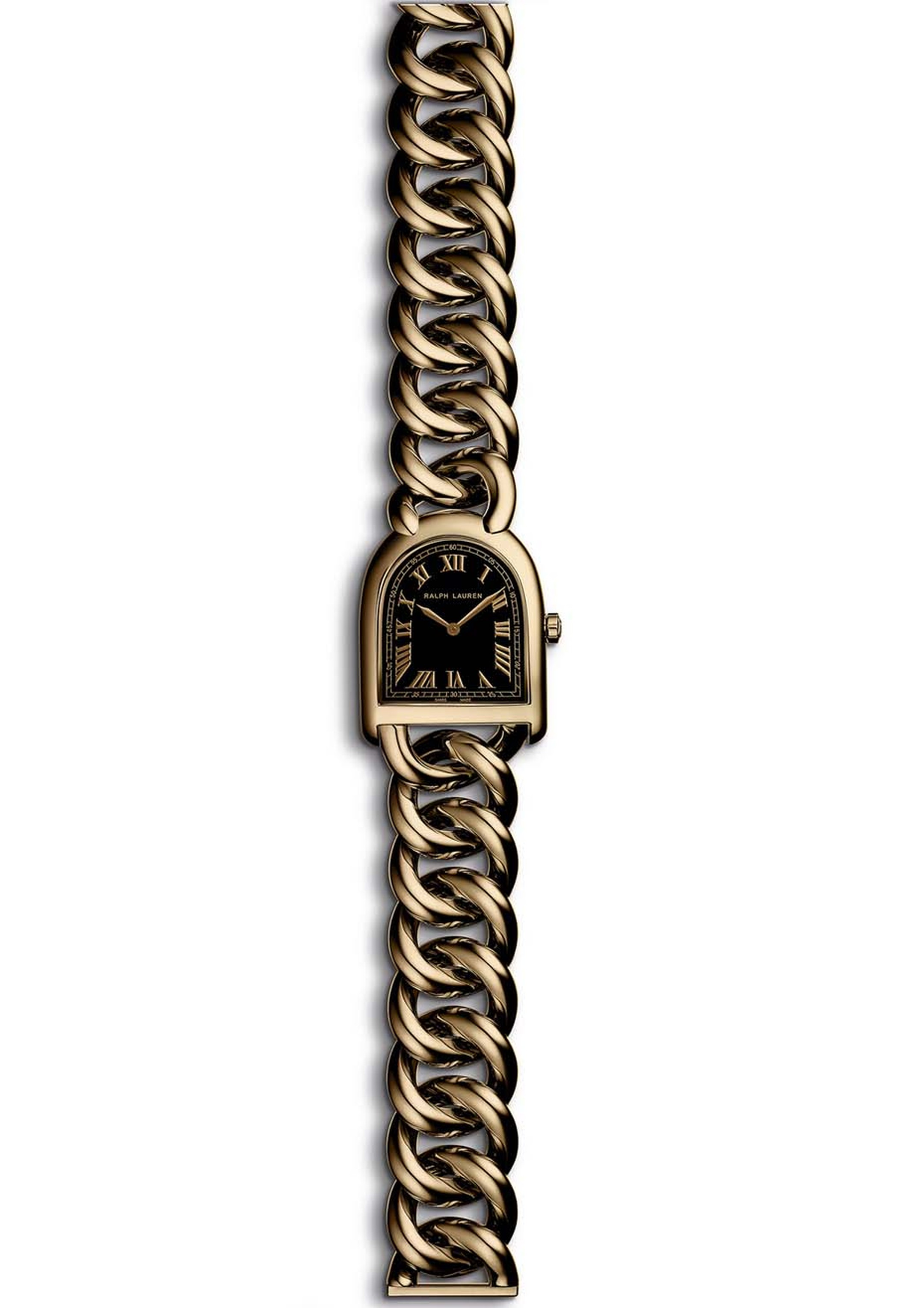 Ralph Lauren Stirrup Petite Link in rose gold with a black lacquered dial