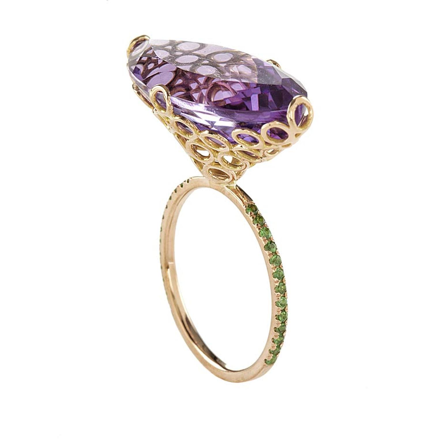 Lito pink gold ring with a 14.5ct marquise-cut amethyst and brilliant-cut tsavorites
