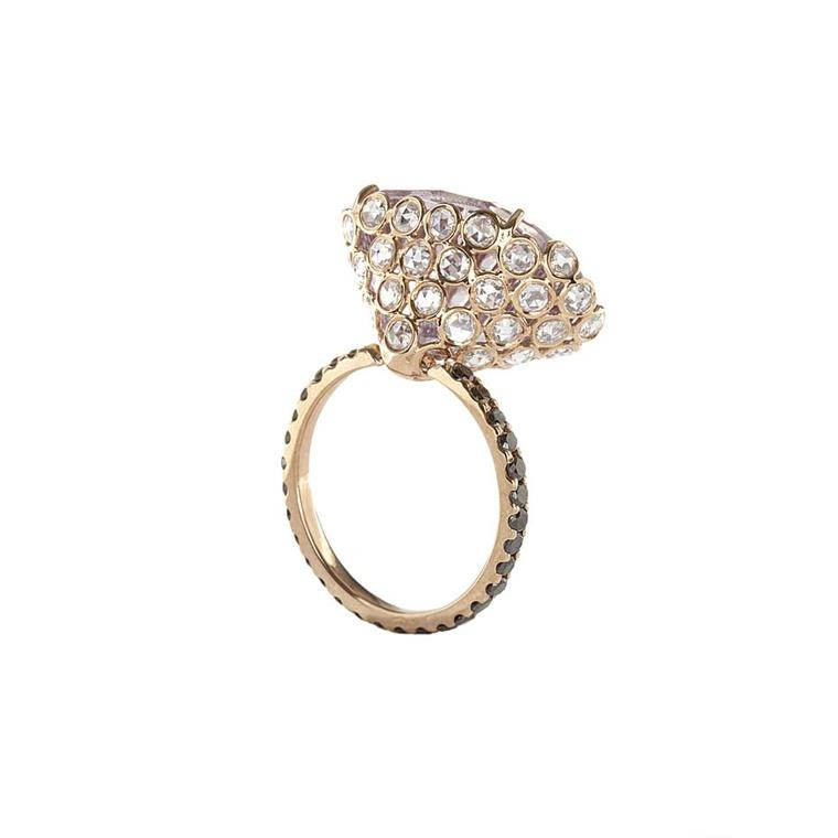 Lito pink gold ring with a 15.5ct pink fancy concave-cut amethyst, white rose-cut and black brilliant-cut diamonds