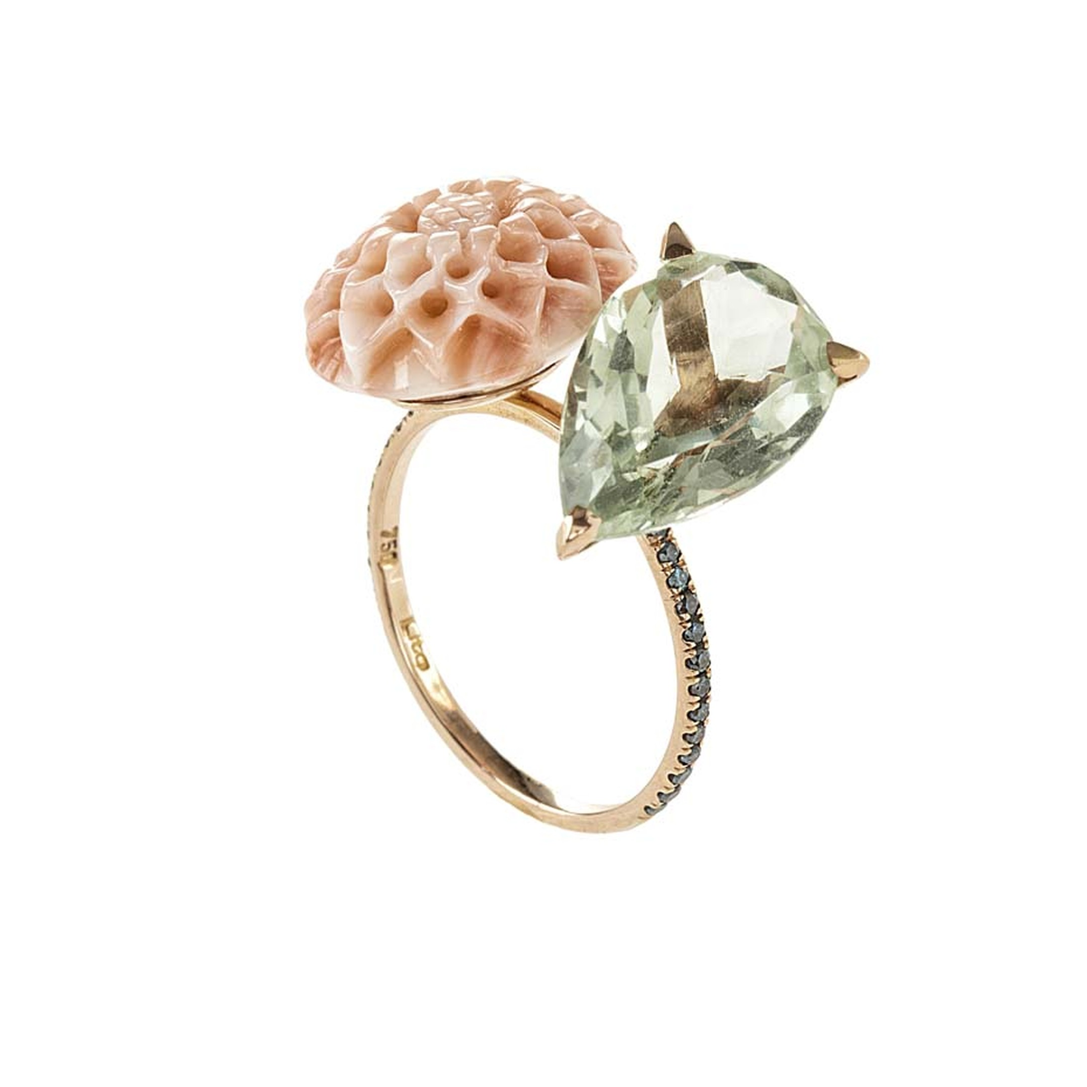 Lito pink gold ring with a 2.5ct green pear-cut amethyst, coral dahlia and blue brilliant-cut diamonds