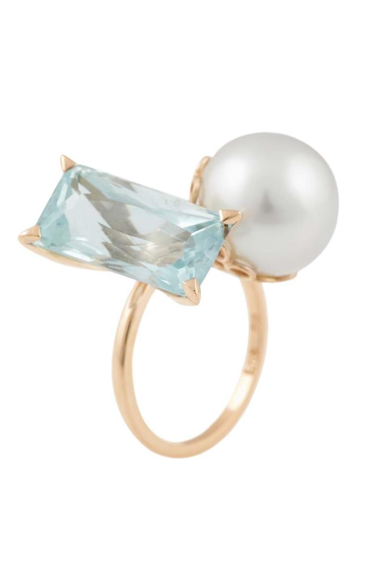 Lito pink gold ring with an 8.2ct octagon-cut aquamarine and Tahitian pearl