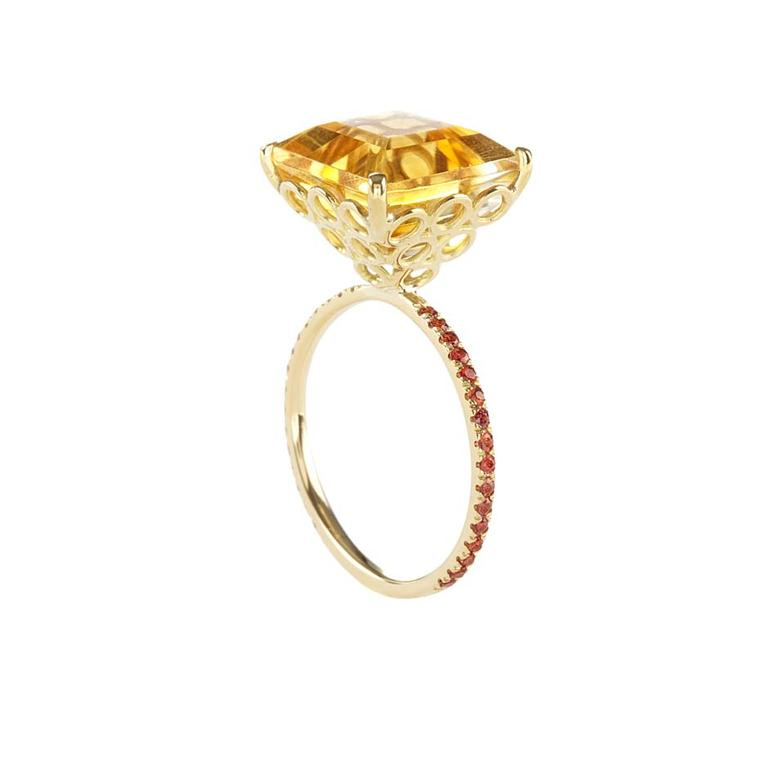 Lito yellow gold ring with a 7.5ct square-cut citrine, brown brilliant-cut diamonds and orange brilliant-cut sapphires