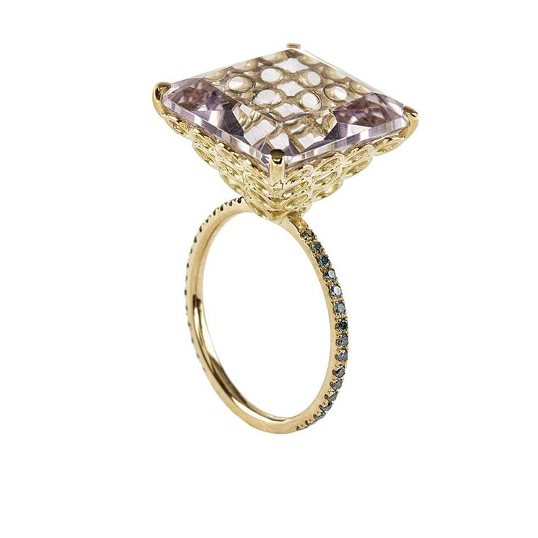 Lito yellow gold ring with a 13.6ct pink princess square-cut amethyst and blue diamonds