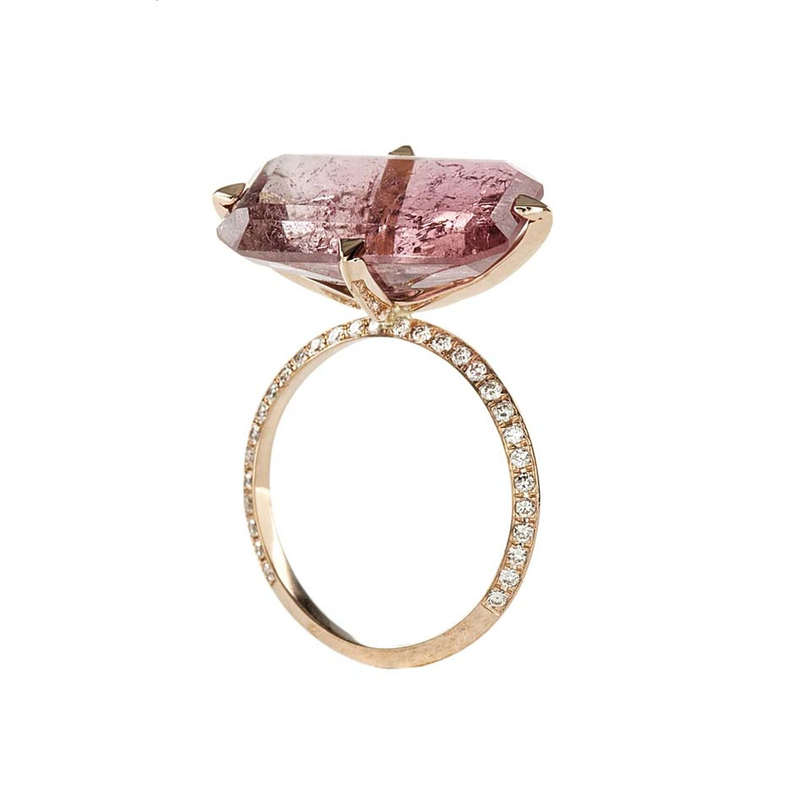 Lito pink gold ring with a 9.35ct pink octagon-cut tourmaline and white brilliant-cut diamonds