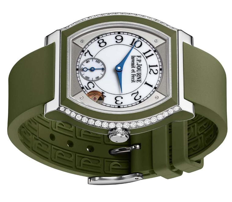 F.P. Journe Élégante watch in titanium and green rubber
