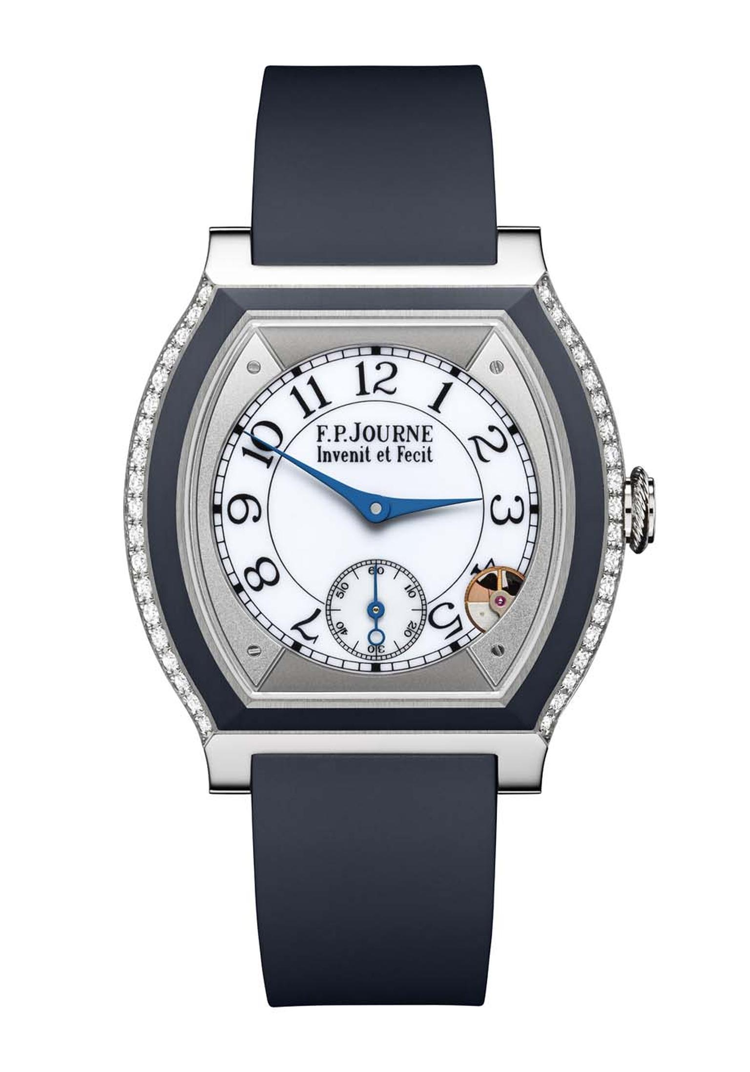 F.P. Journe Élégante watch in titanium and blue rubber