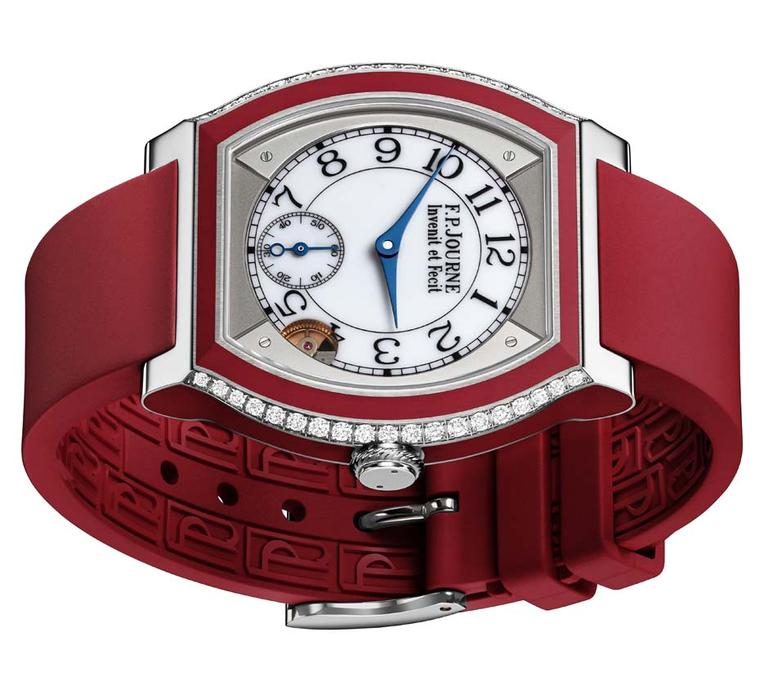 F.P. Journe Élégante watch in titanium and red rubber