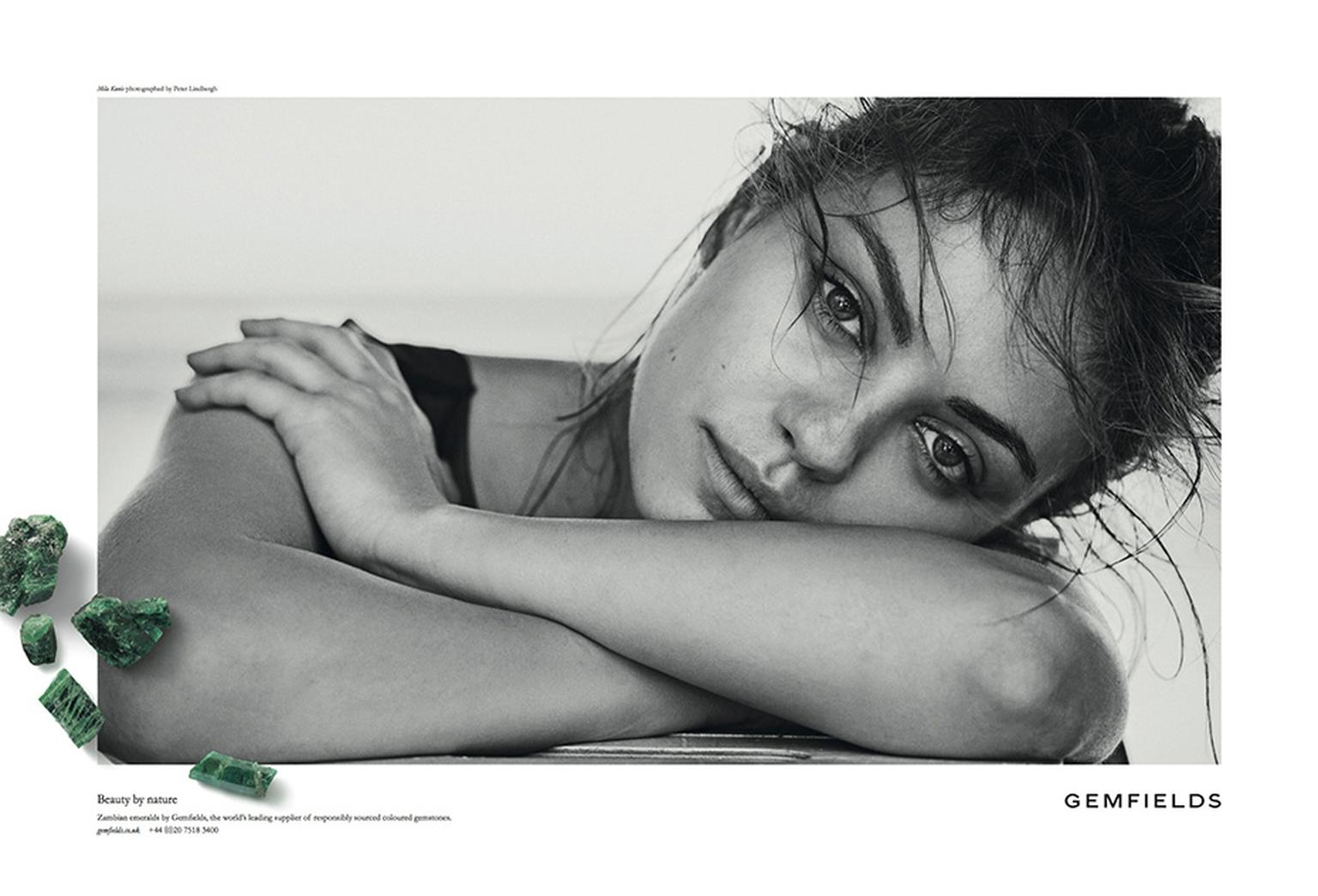 Gemfields' raw green emeralds have been superimposed onto the monochrome advertising visuals, emphasising their colour as well as Gemfields' role as a leading producer of coloured stones