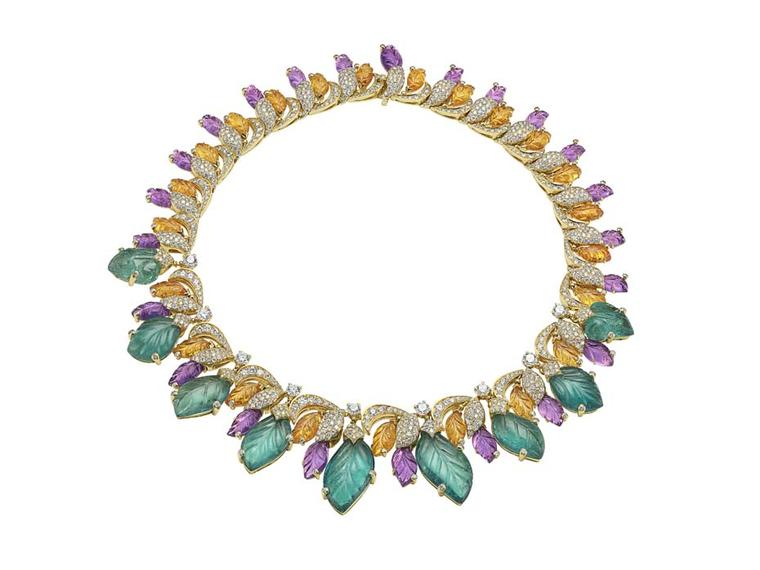 Bulgari 'Four Seasons Summer' necklace in yellow gold set with emeralds, spessartites, amethysts, round brilliant-cut diamonds and pavé diamonds