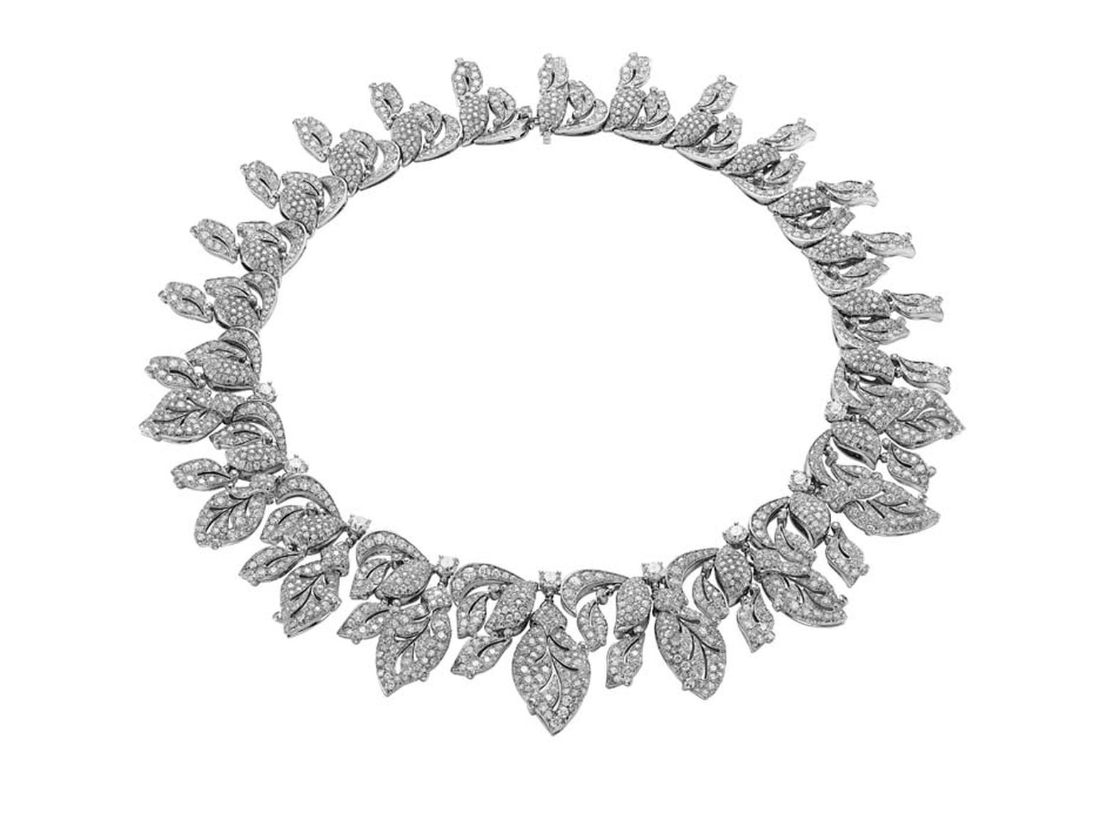 Bulgari 'Four Seasons Winter' necklace in platinum with brilliant-cut diamonds and pavé-set diamonds