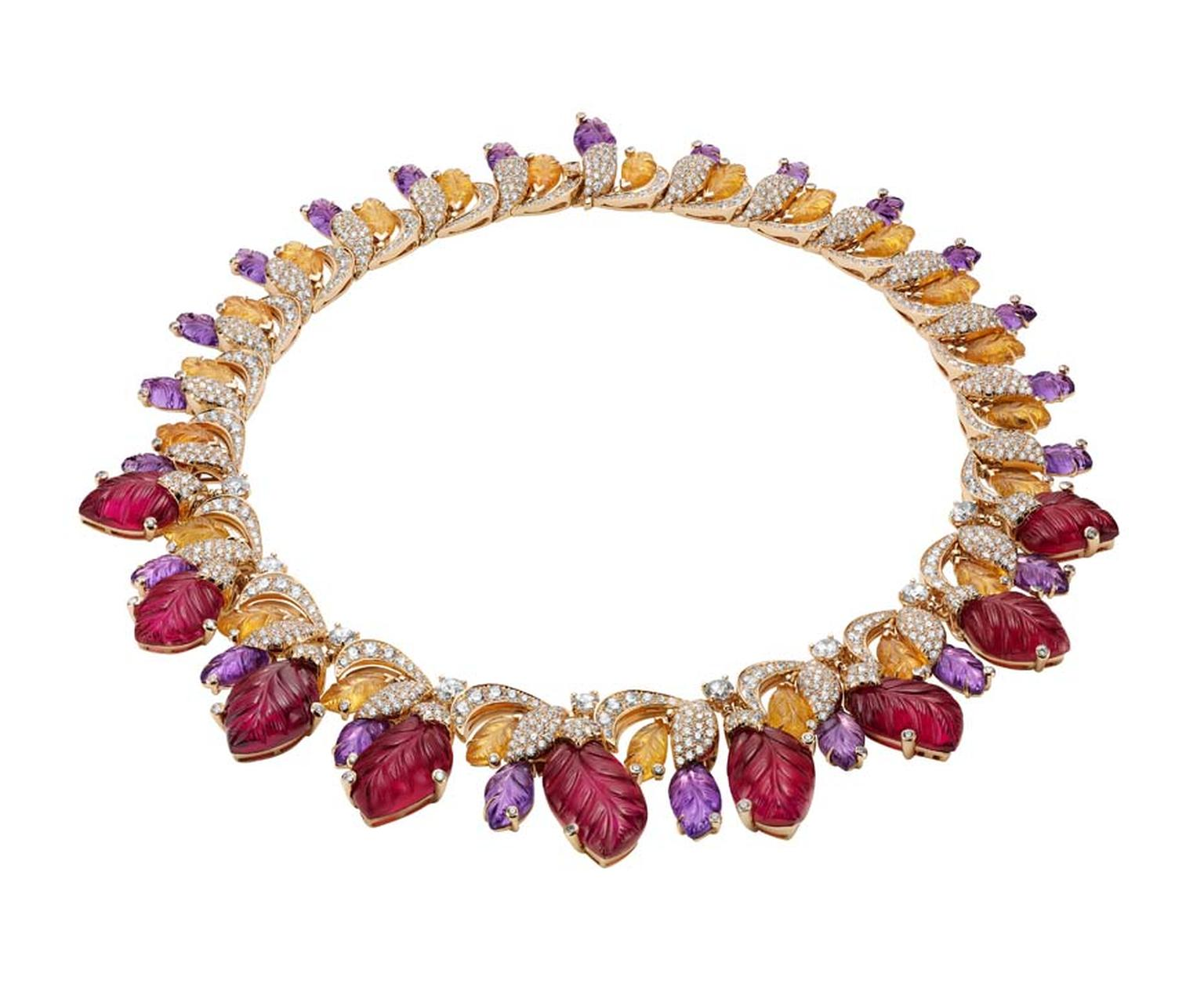 Bulgari 'Four Seasons Autumn' necklace in pink gold set with tourmalines, amethysts, spessartite and brilliant-cut and pavé-set diamonds