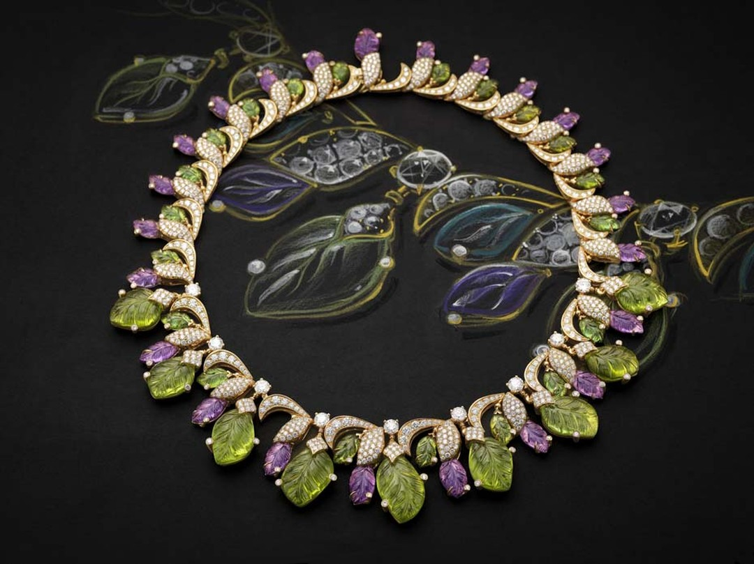 Bulgari 'Four Seasons Spring' necklace in pink gold with mint tourmalines, peridots, amethyst, round brilliant cut diamonds and pavé set diamonds