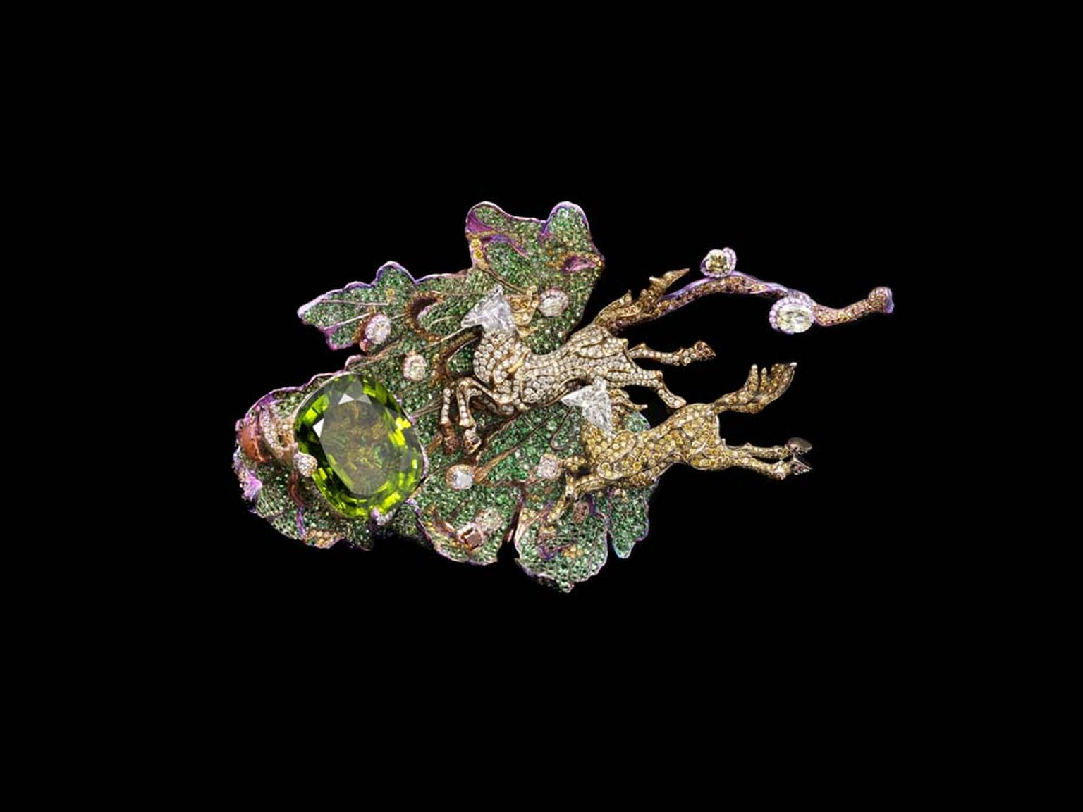 Wallace Chan Entrancing Love brooch featuring a horse set with a 52.58ct peridot