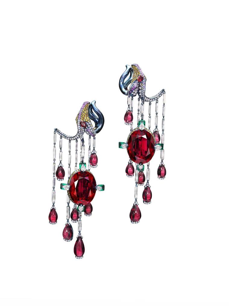 Wallace Chan Vermillion Veil earring set with two rubellites weighing 20.96ct and 20.03ct, diamonds, emeralds, rubies and yellow diamonds
