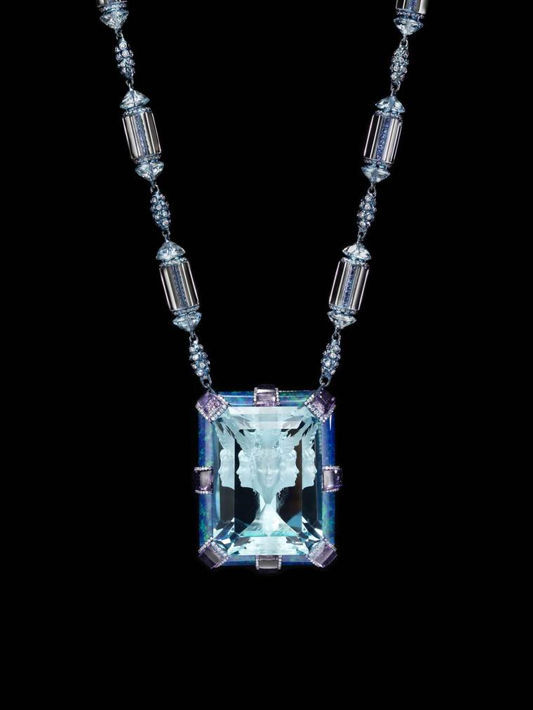 Wallace Chan Now and Always necklace featuring a signature 35.4ct Wallace Cut aquamarine