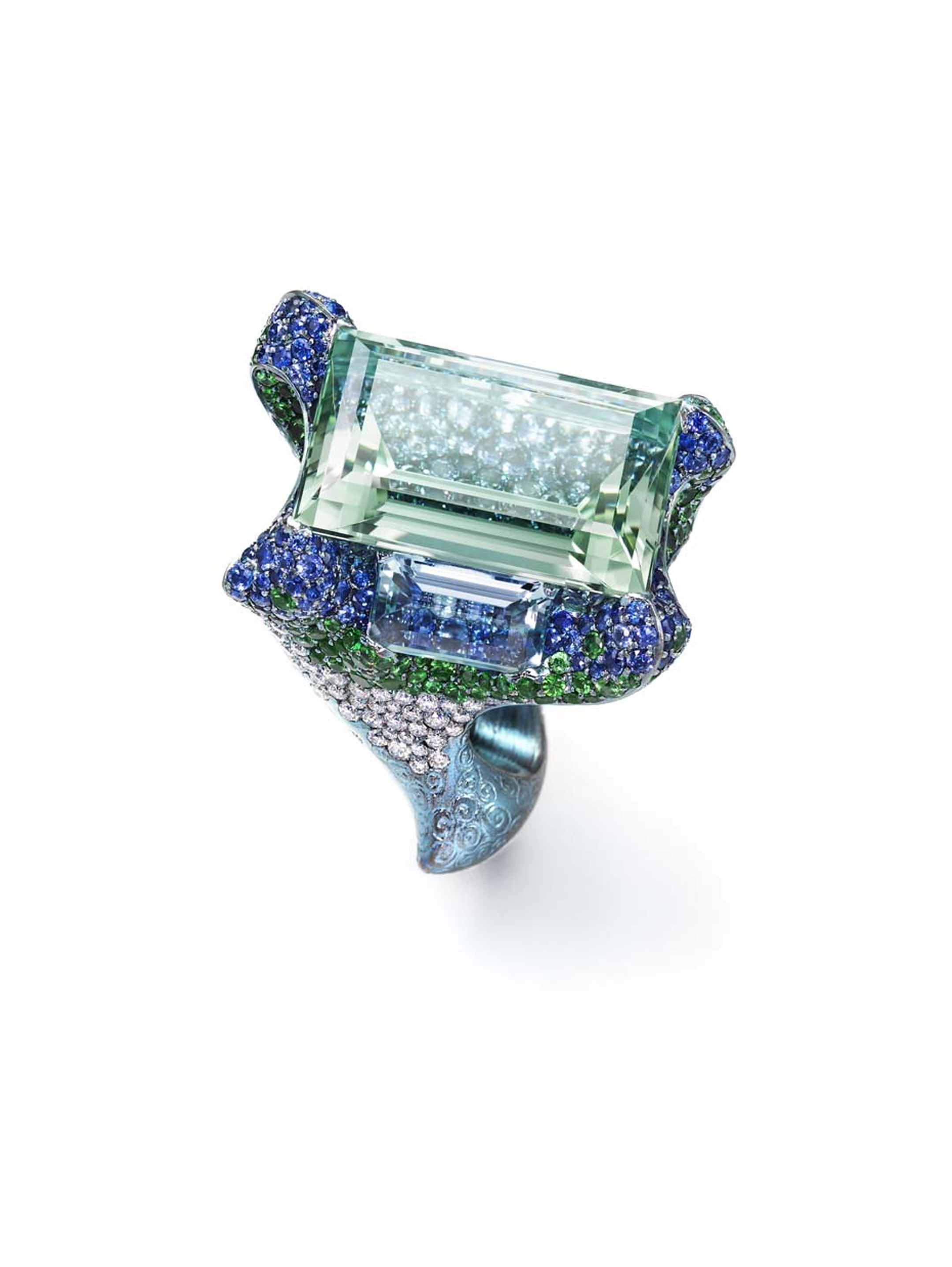 Wallace Chan Cloudless Climes ring set with a central 31.13ct aquamarine and two additional aquamarines, diamonds, tsavorites, garnets and sapphires