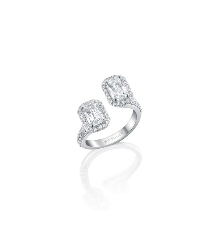 Boodles Gemini ring in white gold set with two Ashoka-cut diamonds in a vintage setting