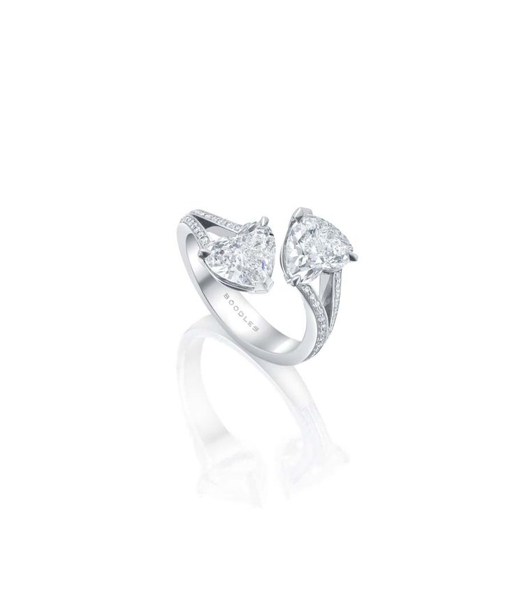 Boodles Gemini white gold ring set with two heart-shaped diamonds over 3ct