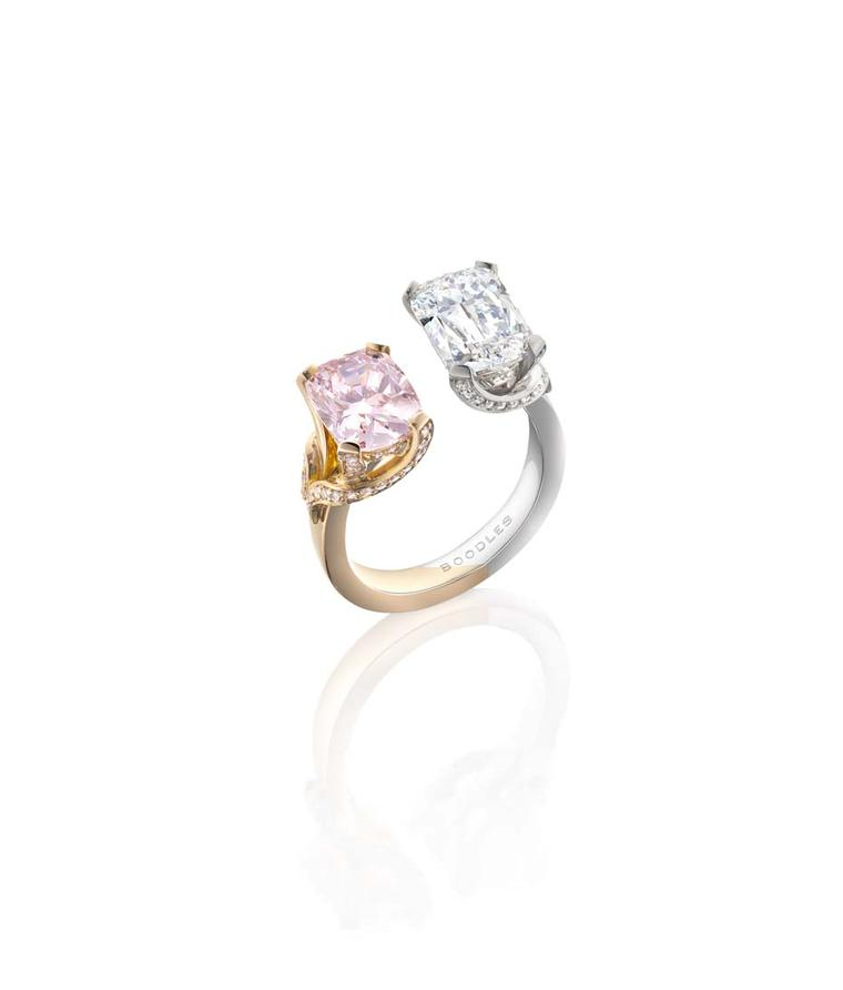 Boodles Gemini white and pink gold ring set with a 3ct Ashoka-cut diamond alongside a 2.5ct Fancy pink cushion-cut diamond (£POA)